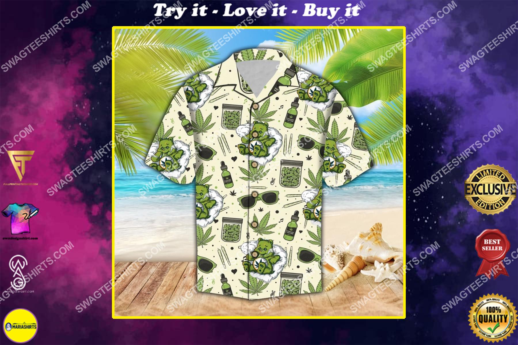 don't care bear weed 420 summer hawaiian shirt