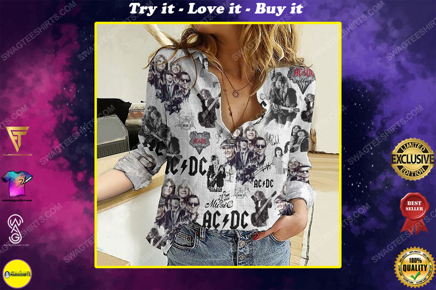 AC DC rock band fully printed poly cotton casual shirt