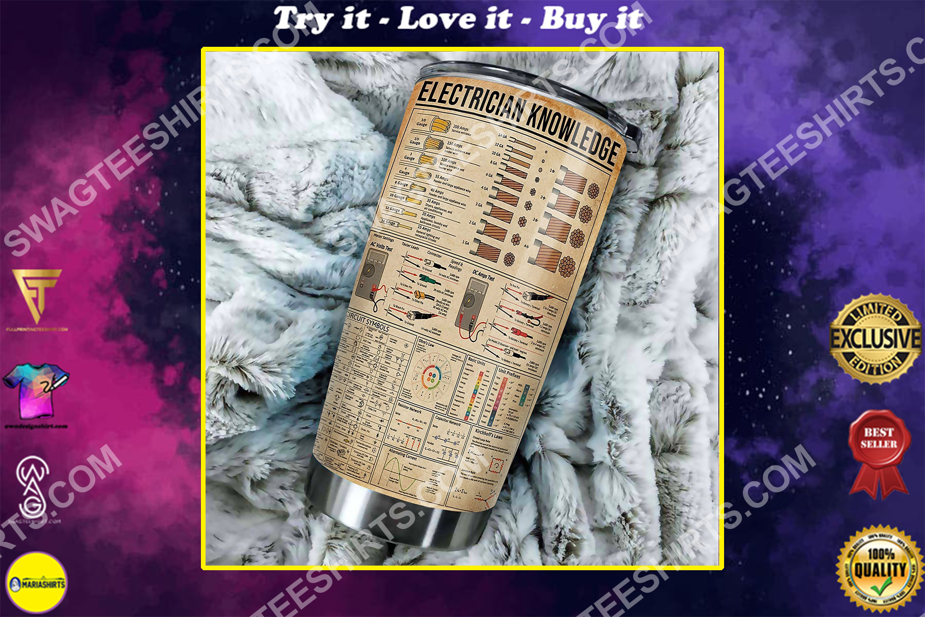 electrician knowledge all over printed stainless steel tumbler