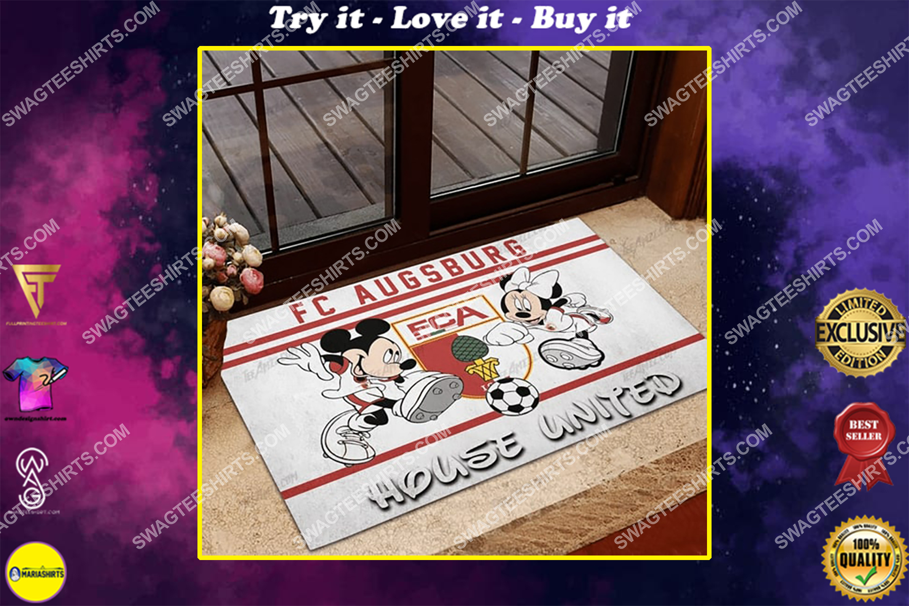 fc augsburg house united mickey mouse and minnie mouse doormat