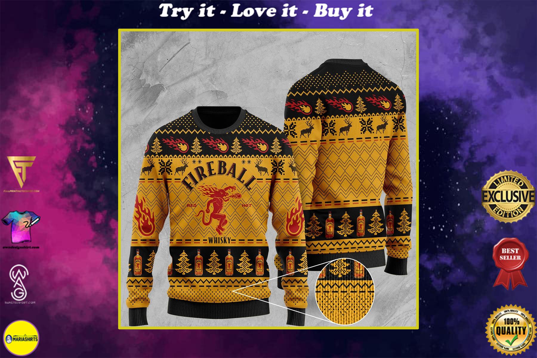 fireball cinnamon whisky all over print ugly christmas sweater