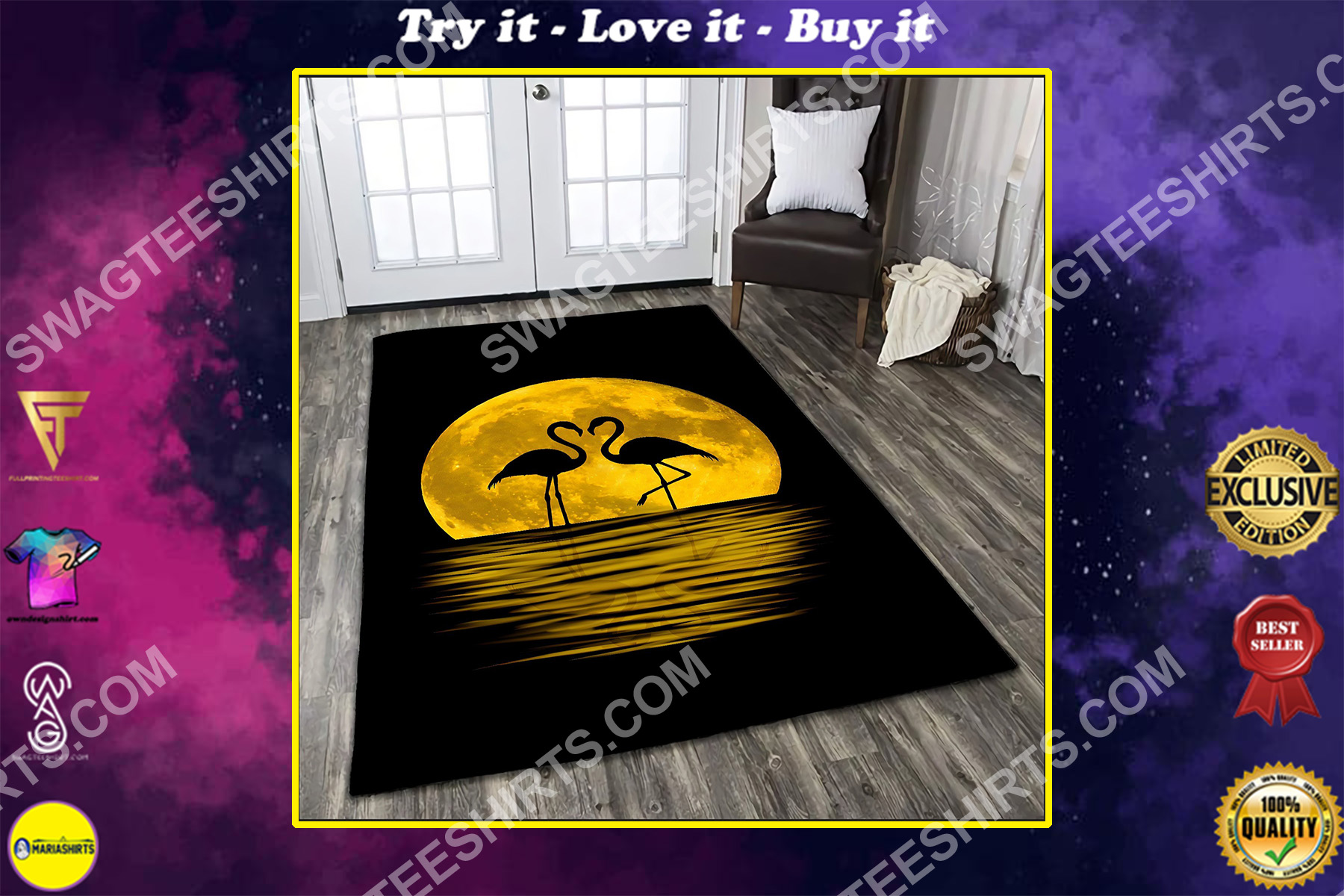 flamingo in the moon all over printed rug