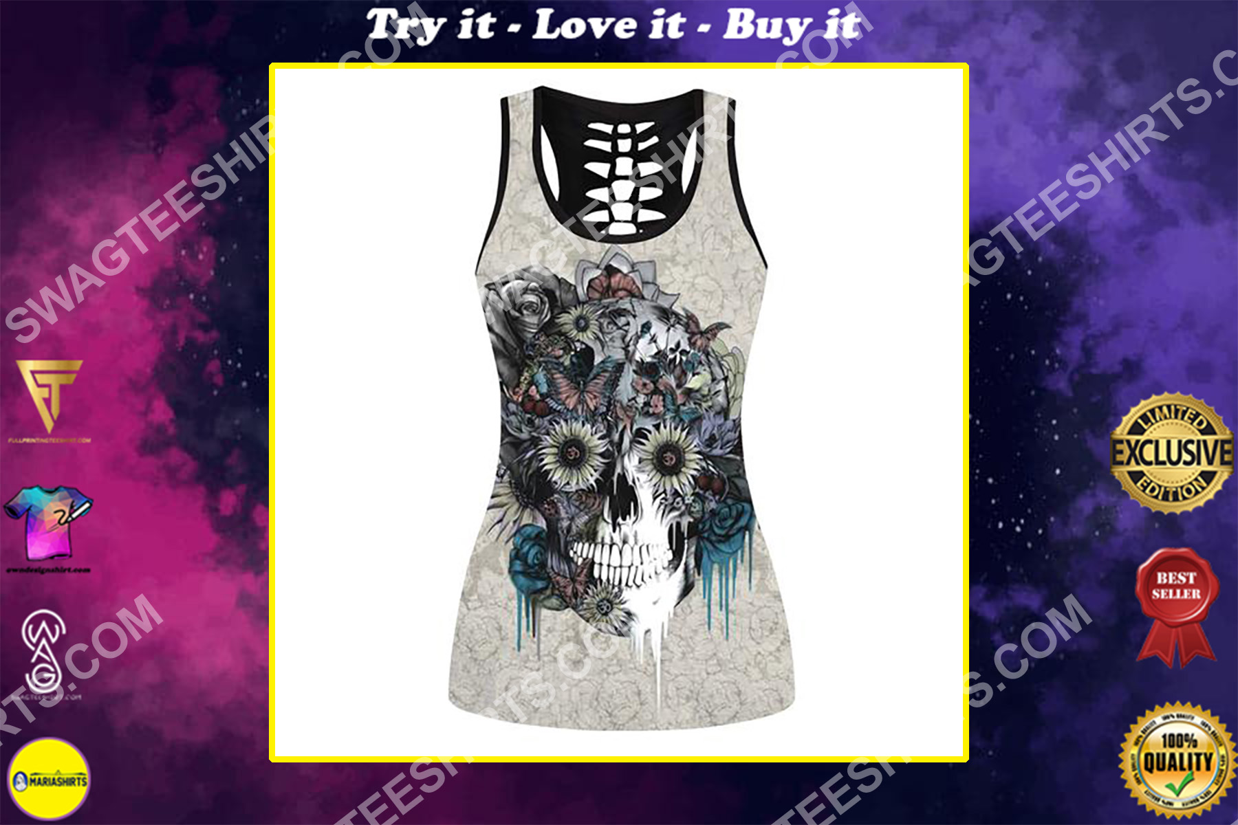 flower and skull full printing hollow tank top