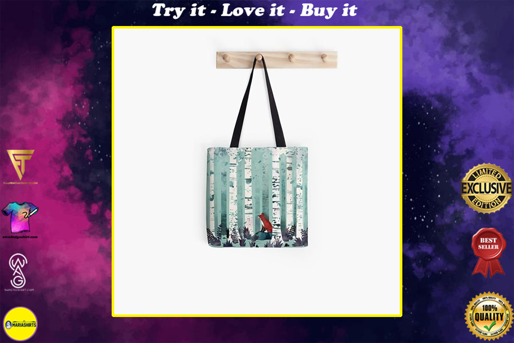 fox in the forest watercolor all over printed tote bag