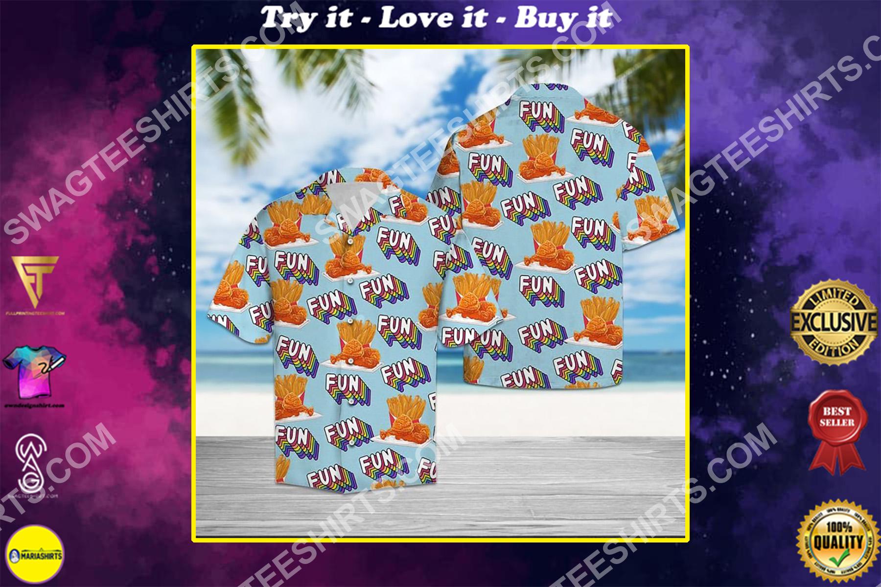 fried chicken fun summer all over printed hawaiian shirt