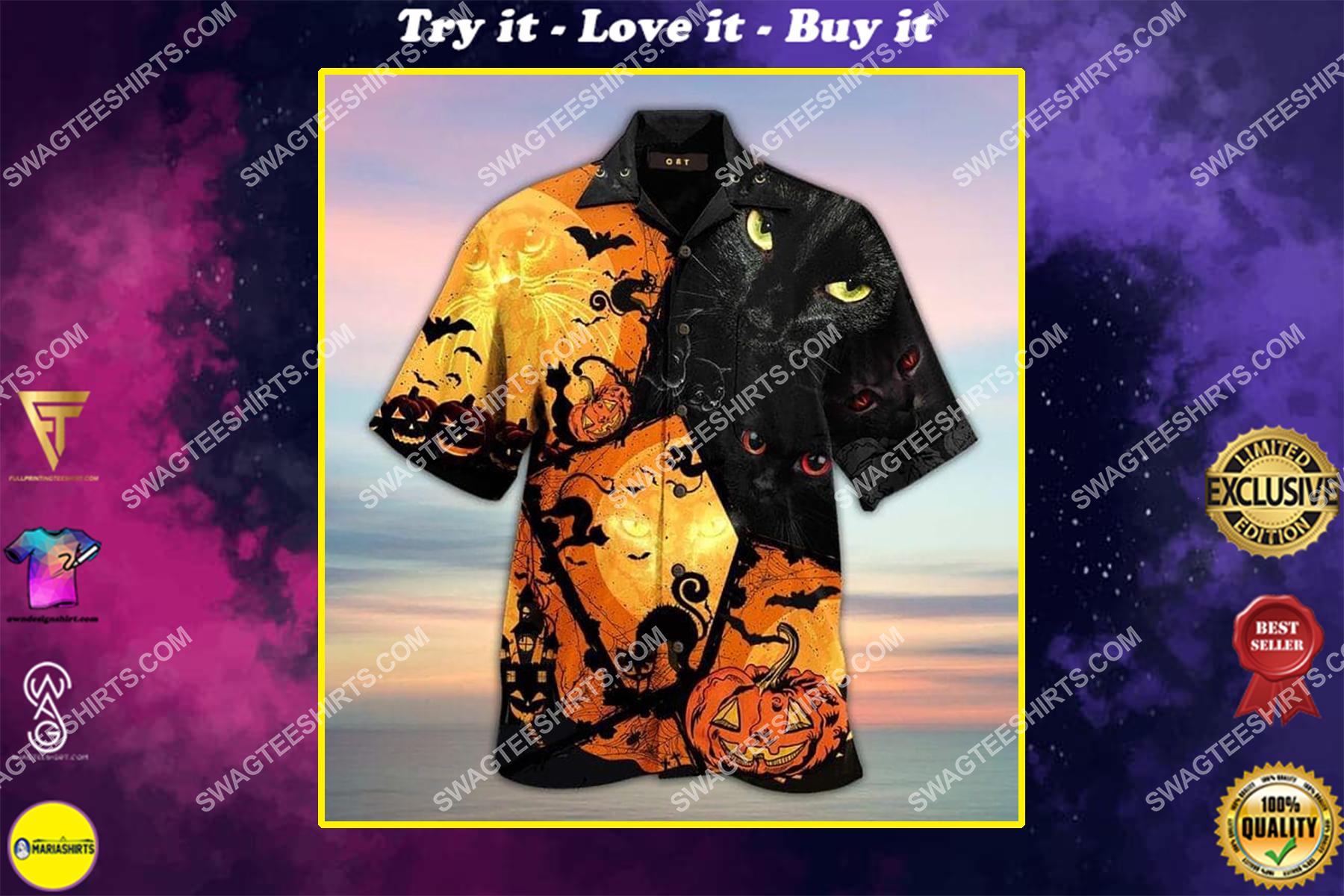 halloween black cat all over print hawaiian shirt