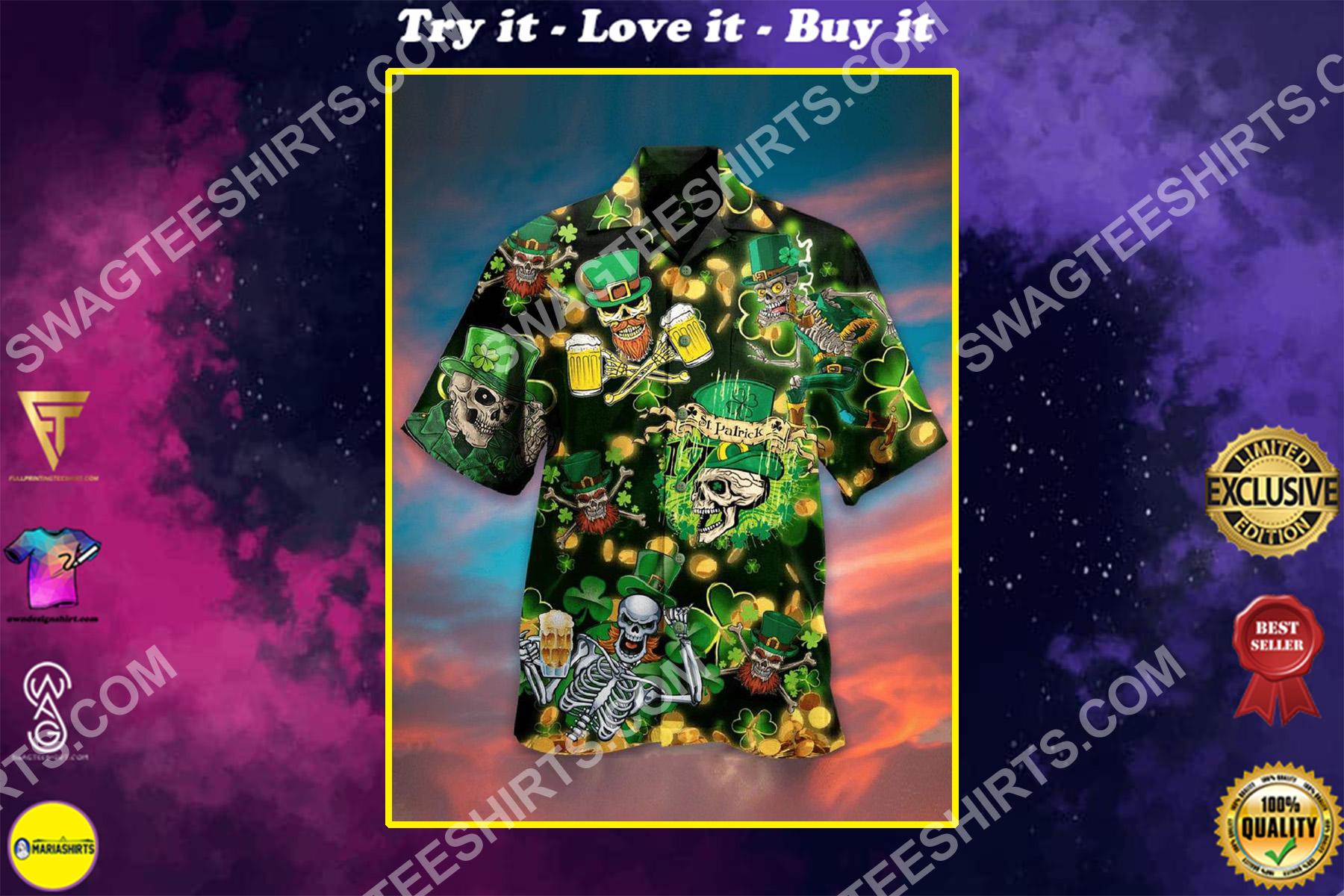 happy saint patrick's day skull all over printing hawaiian shirt