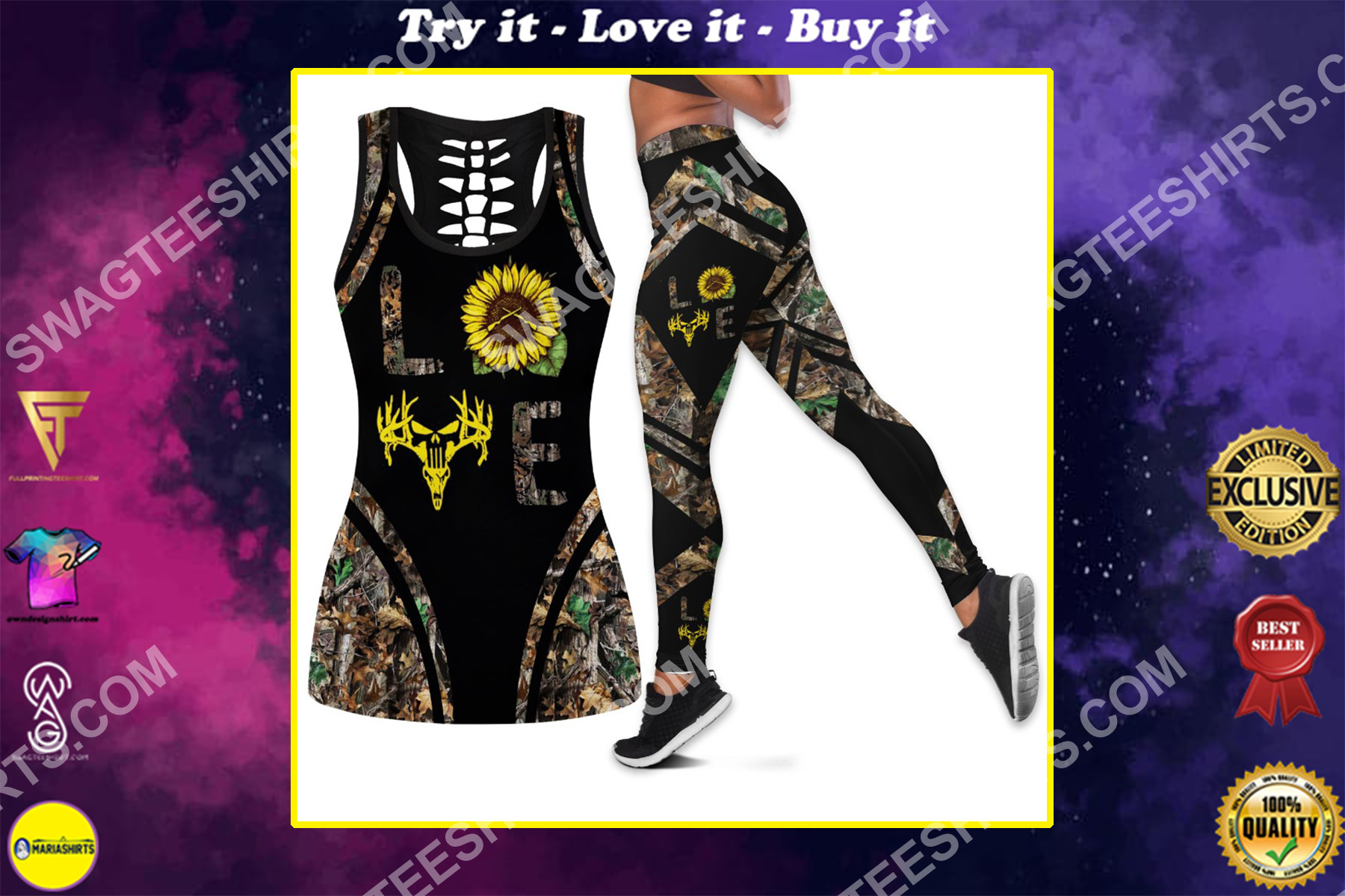hunting deer sunflower camo all over printed set sports outfit