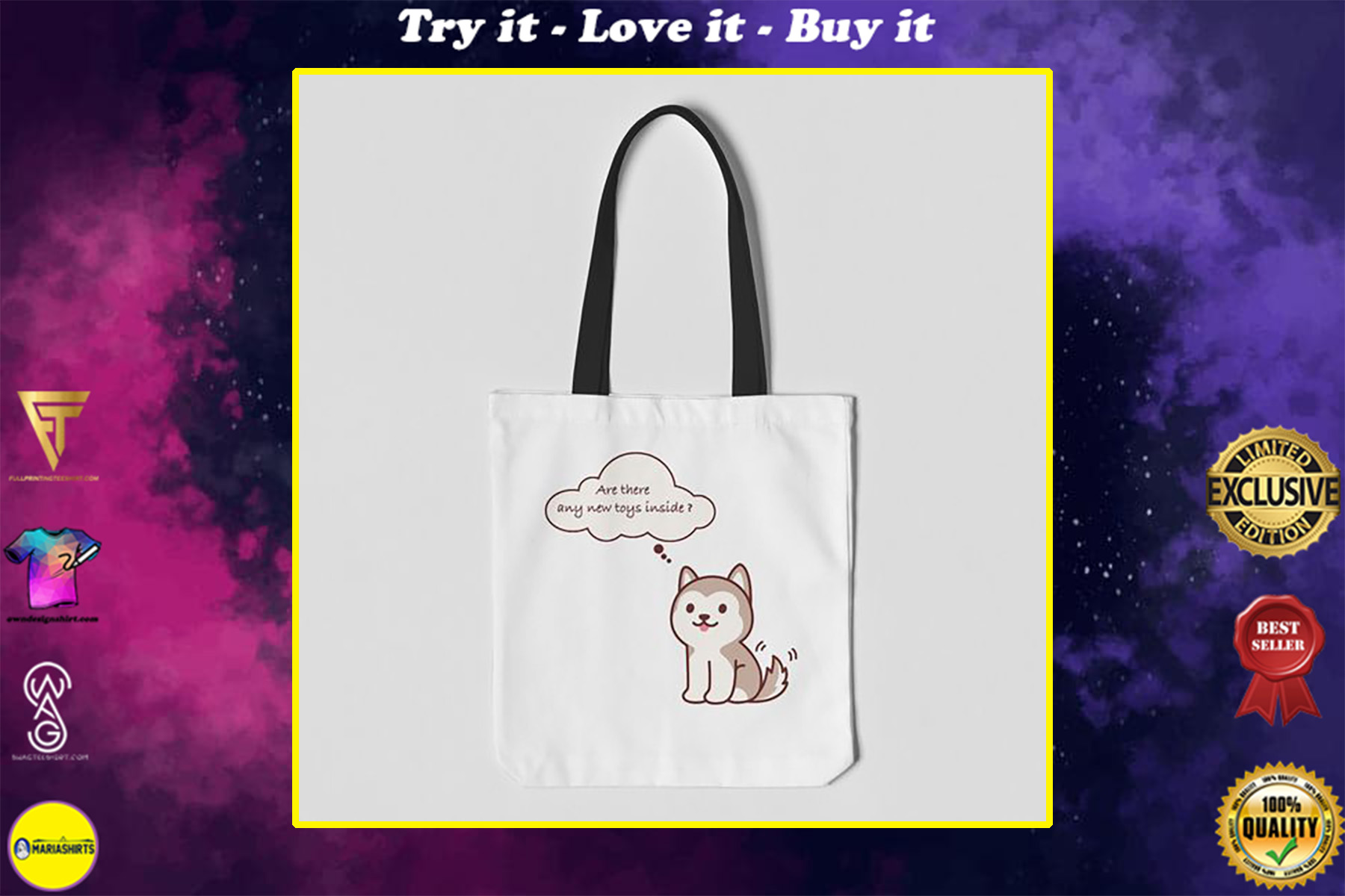 husky dog are there any new toys inside tote bag