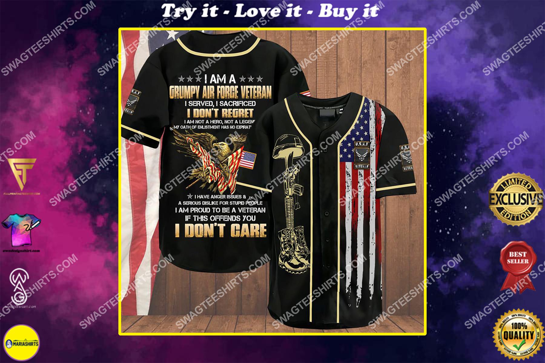 i am a grumpy old air force veteran i served i sacrificed i don't regret i am not a hero not a legend baseball shirt
