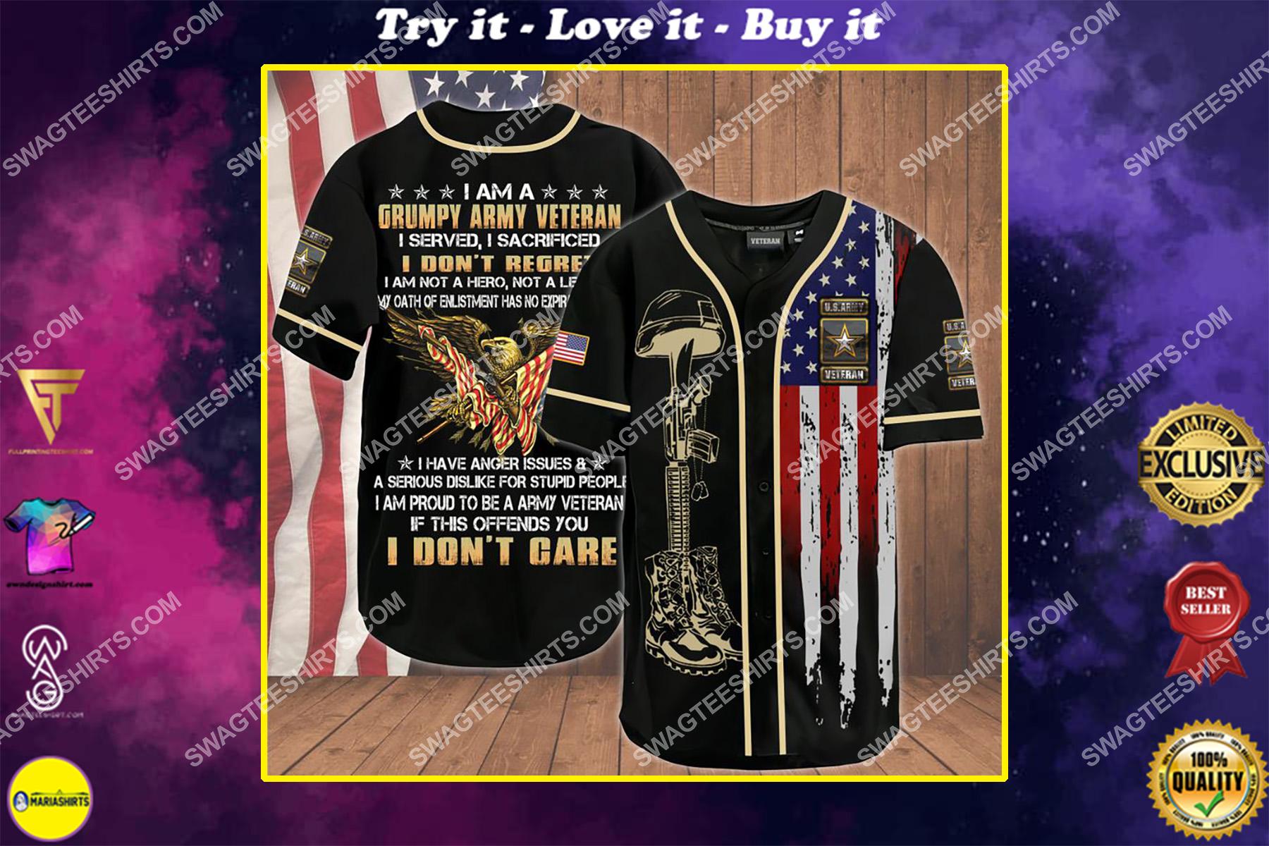 i am a grumpy old army veteran i served i sacrificed i don't regret i am not a hero not a legend baseball shirt