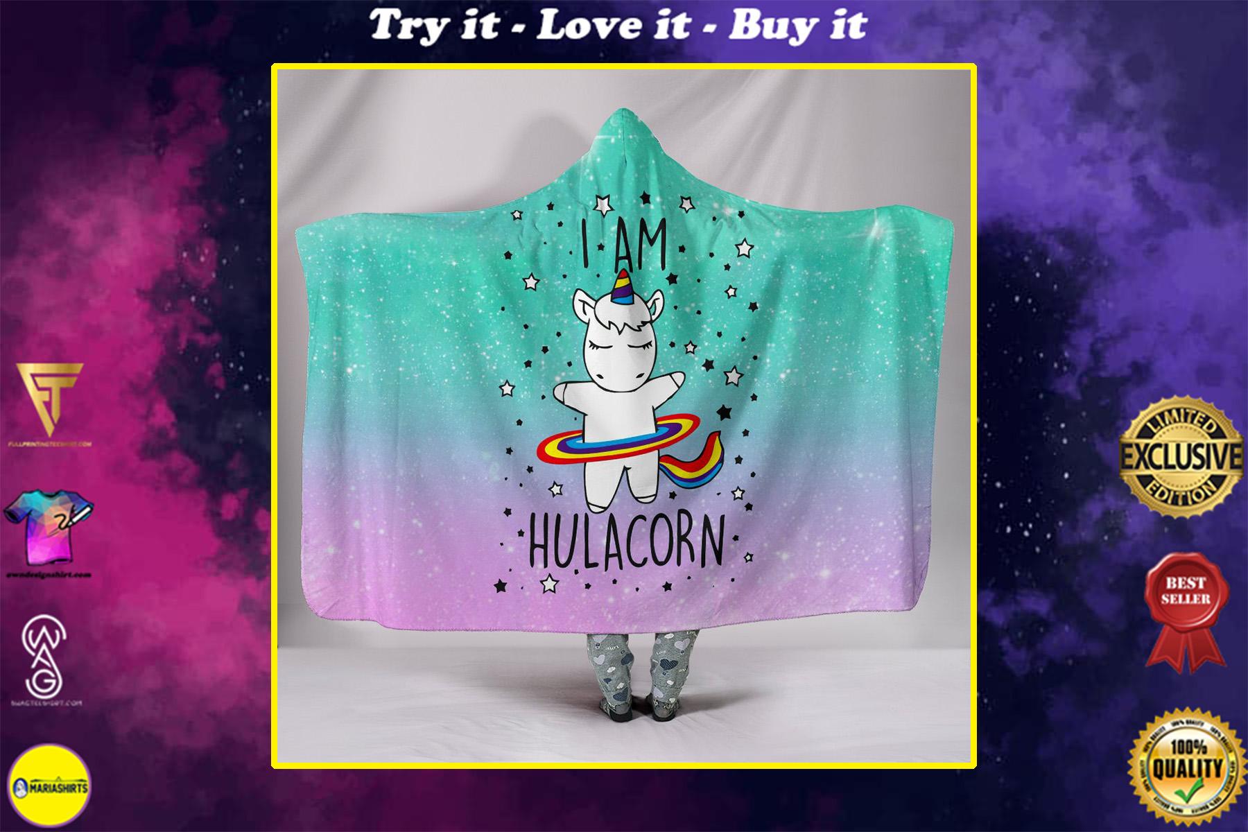 i am hulacorn unicorn galaxy full printing hooded blanket