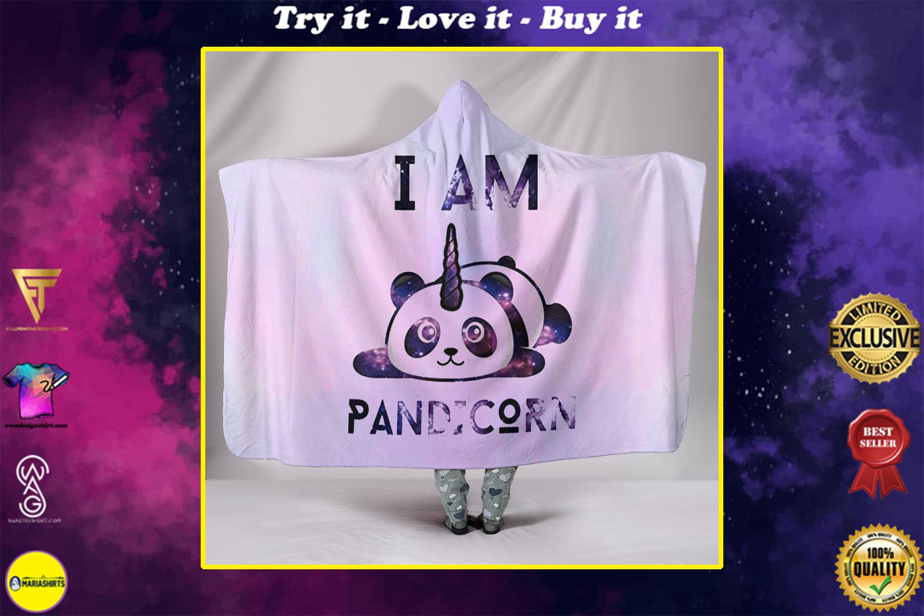 i am pandicorn full over print hooded blanket