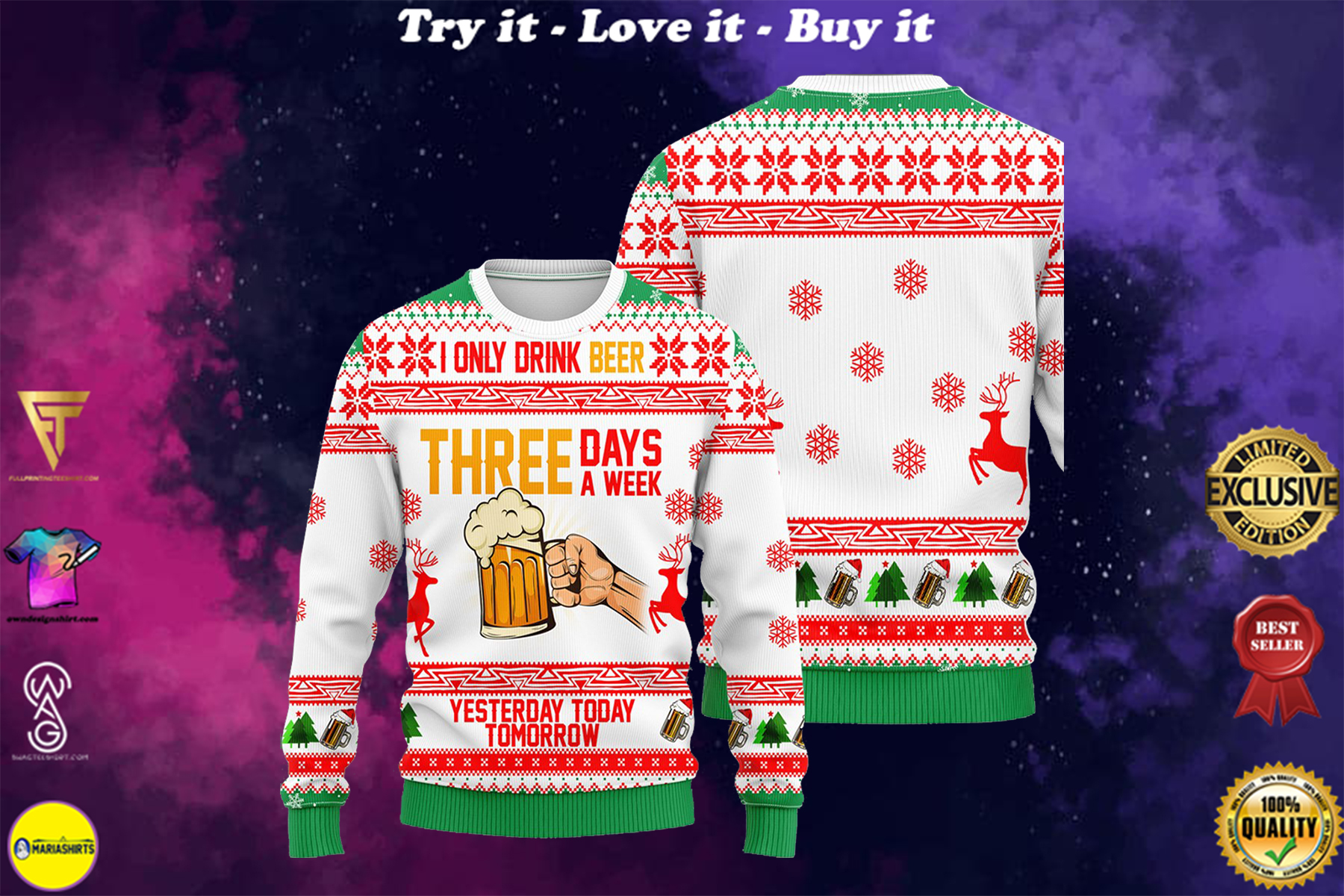 i only drink beer three days a week all over printed ugly christmas sweater