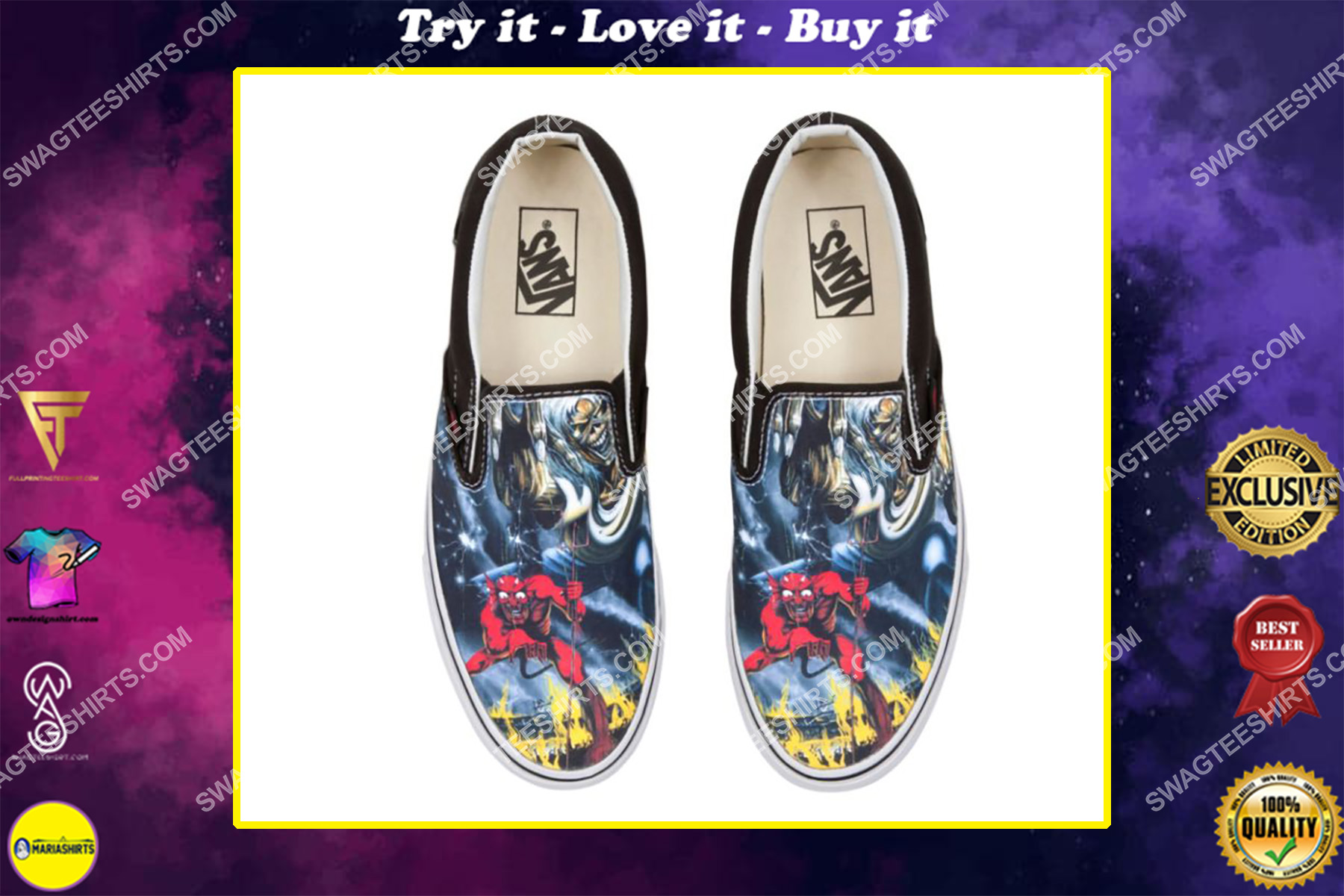 iron maiden all over print slip on shoes