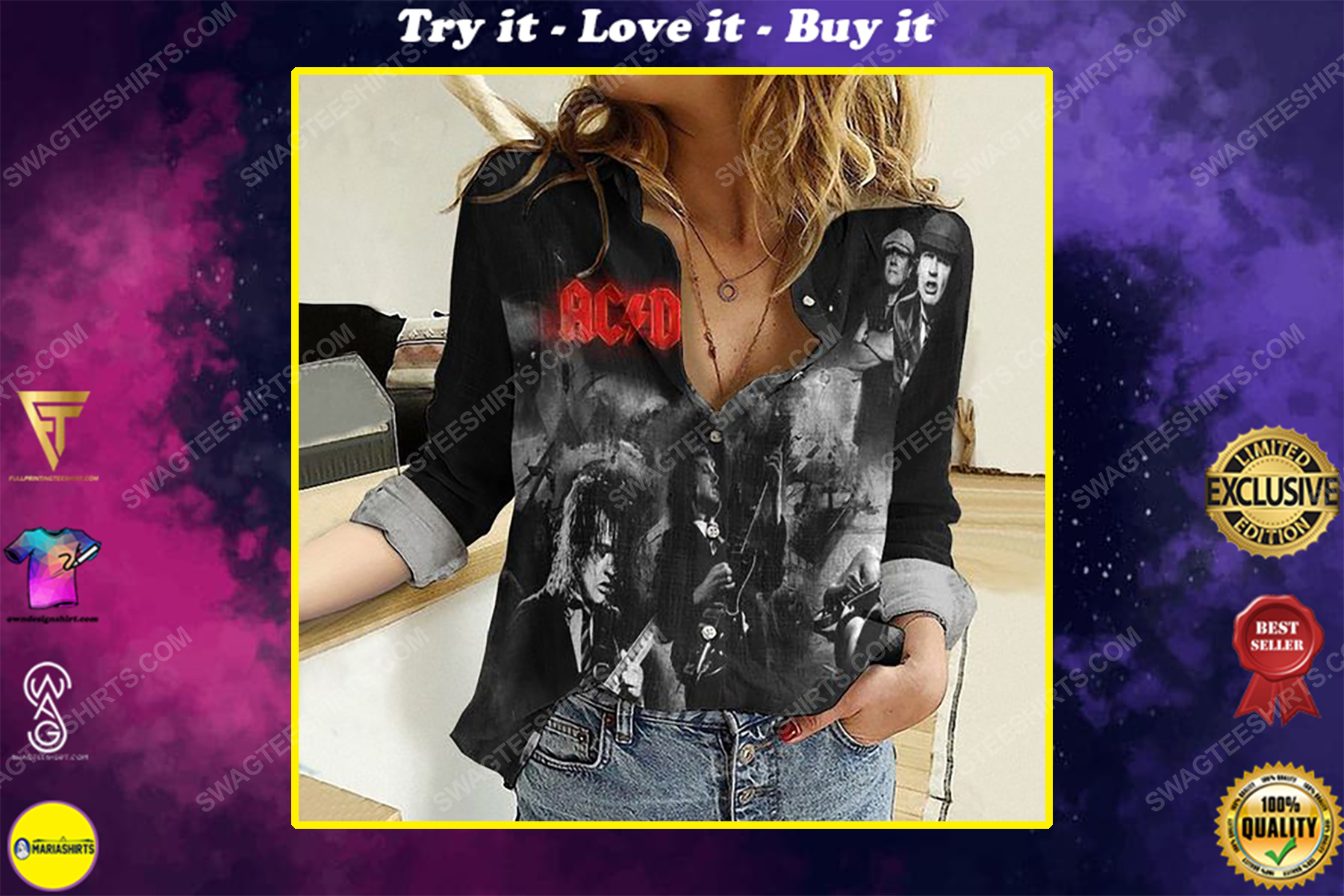 AC DC music band fully printed poly cotton casual shirt
