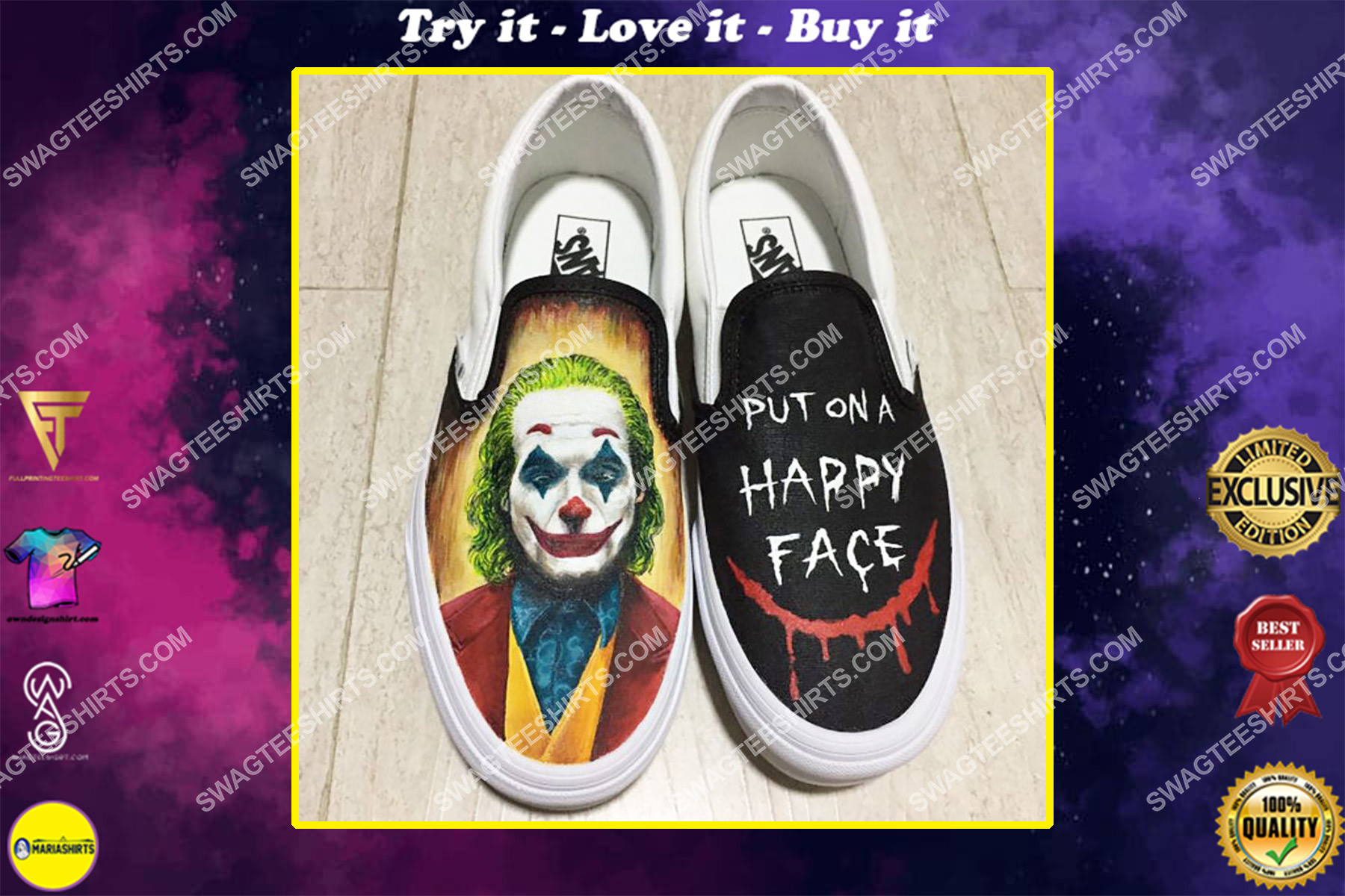 joker put on a happy face all over print slip on shoes