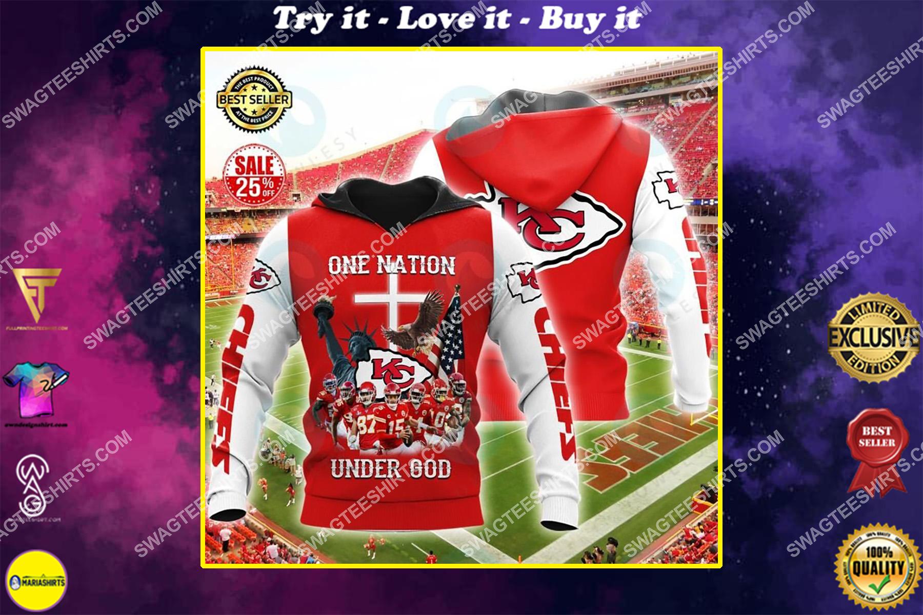 kansas chiefs football one nation under God all over printed shirt