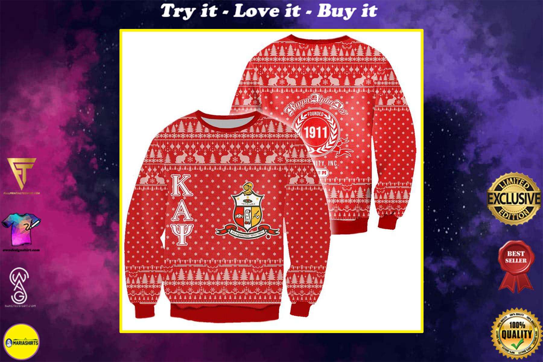 kappa alpha psi all over print ugly christmas sweater