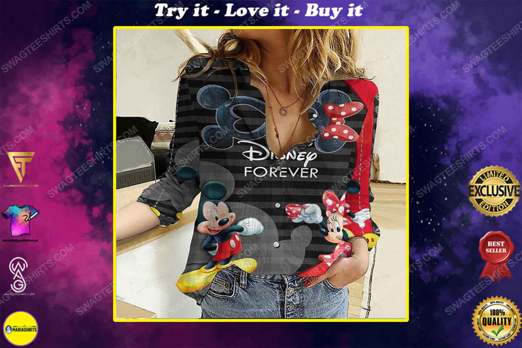 Disney forever fully printed poly cotton casual shirt