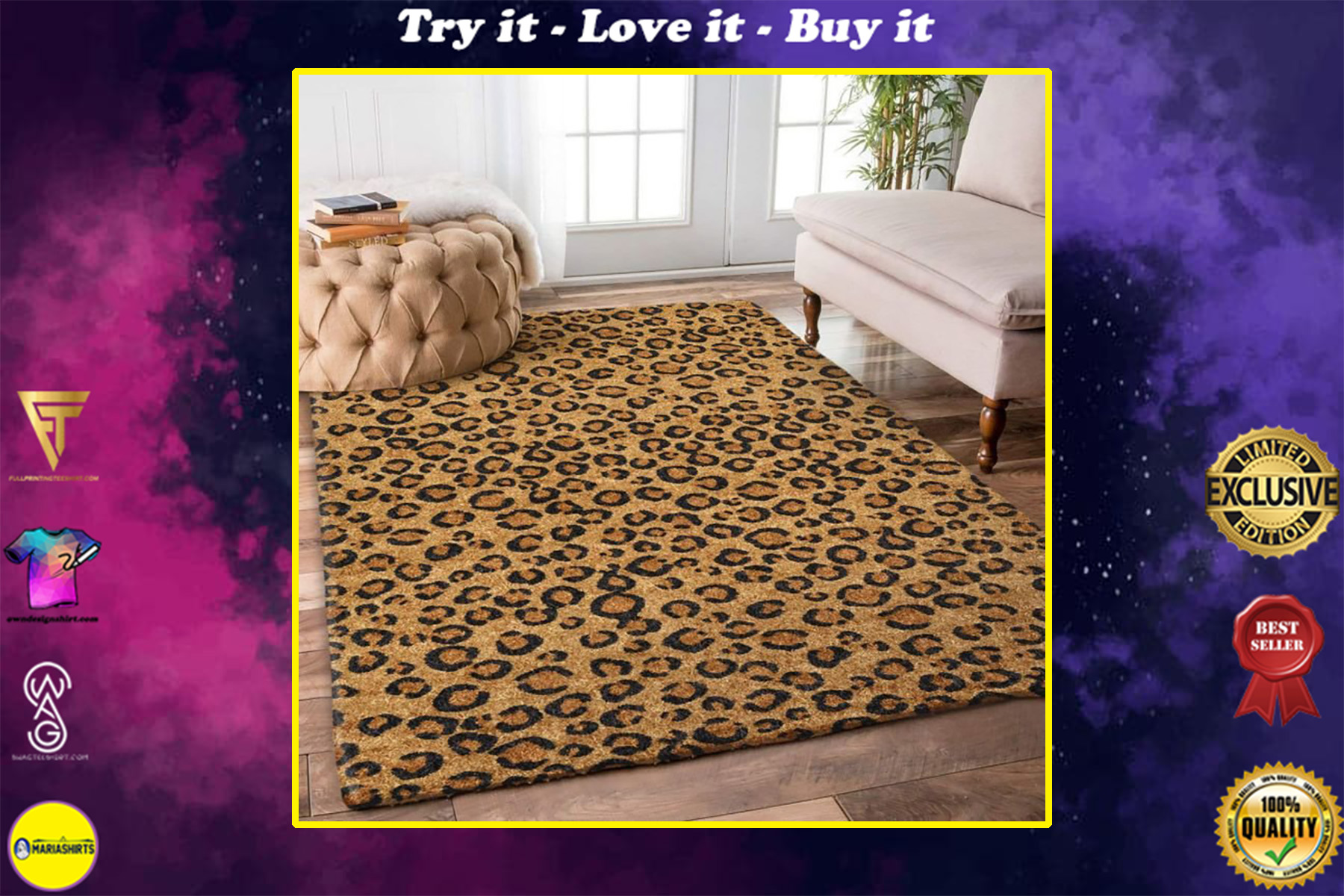 leopard pattern all over printed rug