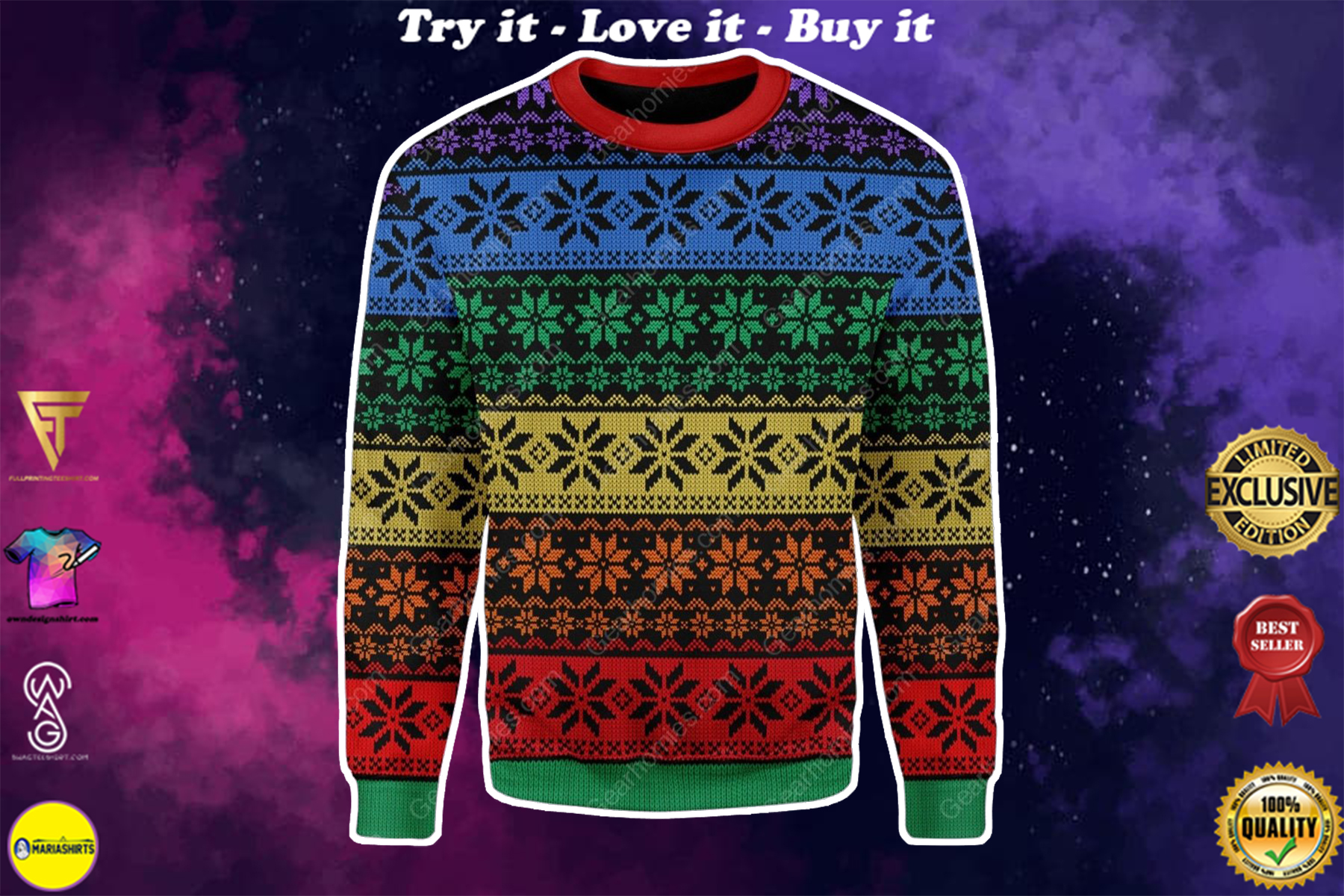 lgbt all over printed ugly christmas sweater