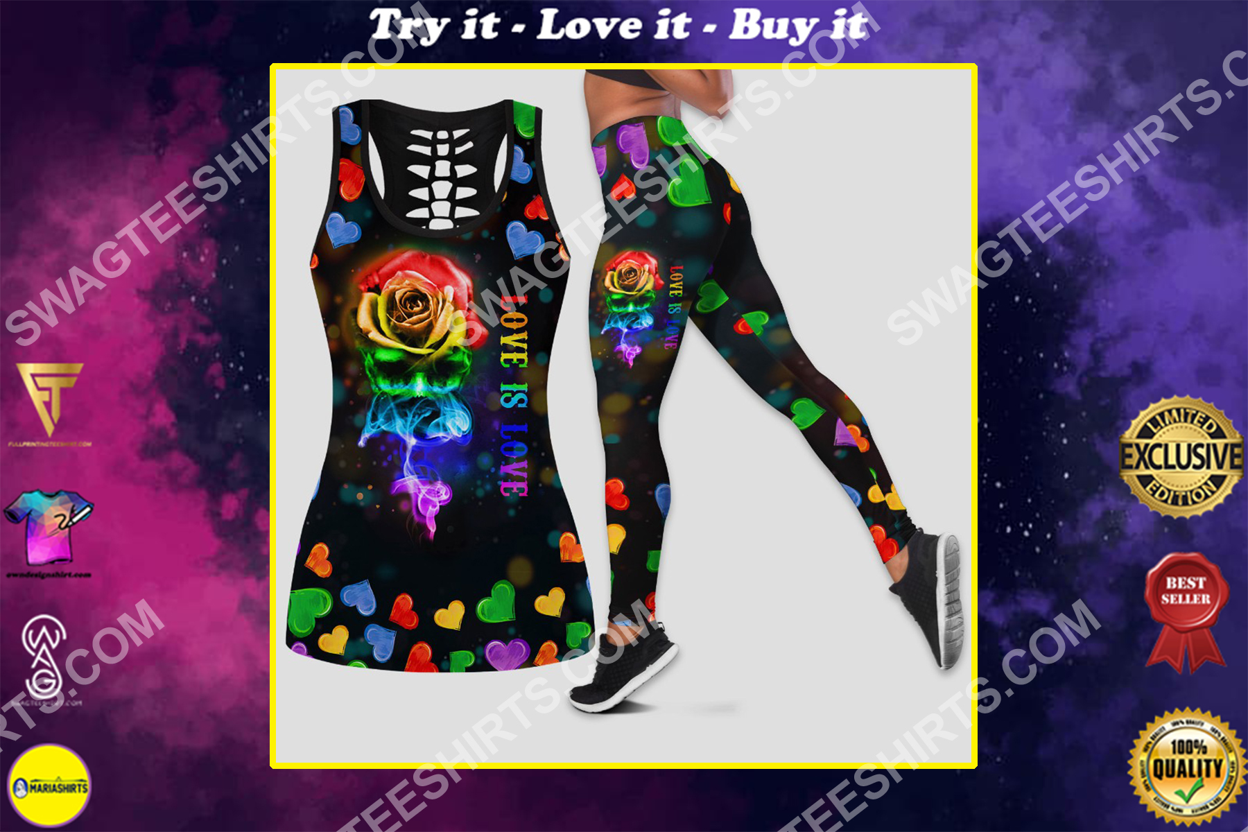 lgbt love is love all over printed set sports outfit