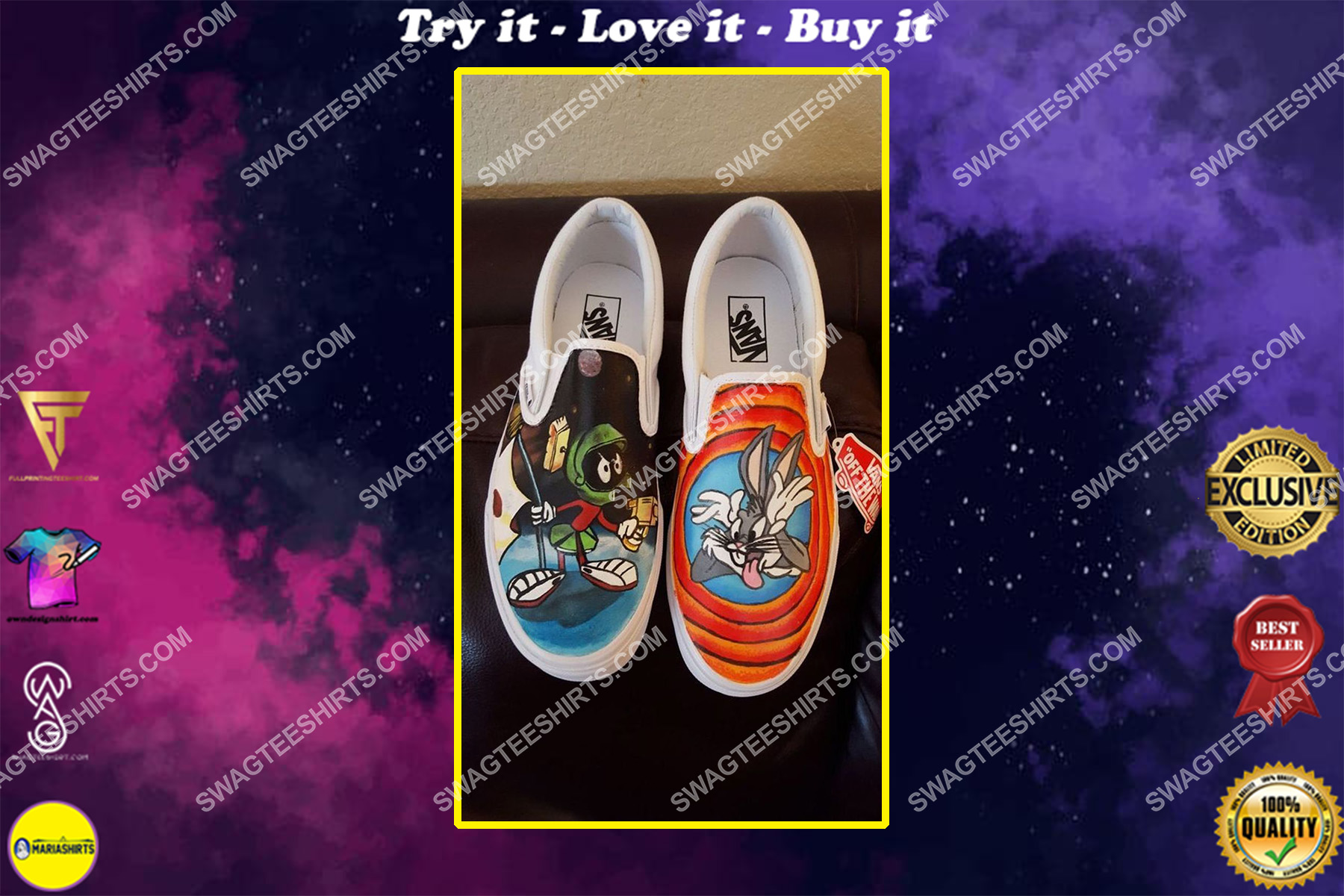 looney tunes cartoons all over print slip on shoes