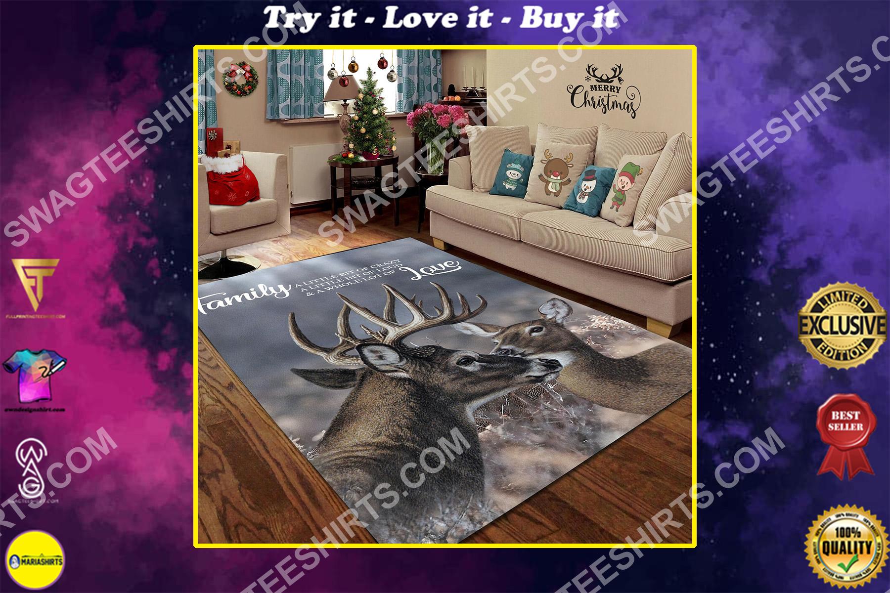 love deer family love all over printed rug