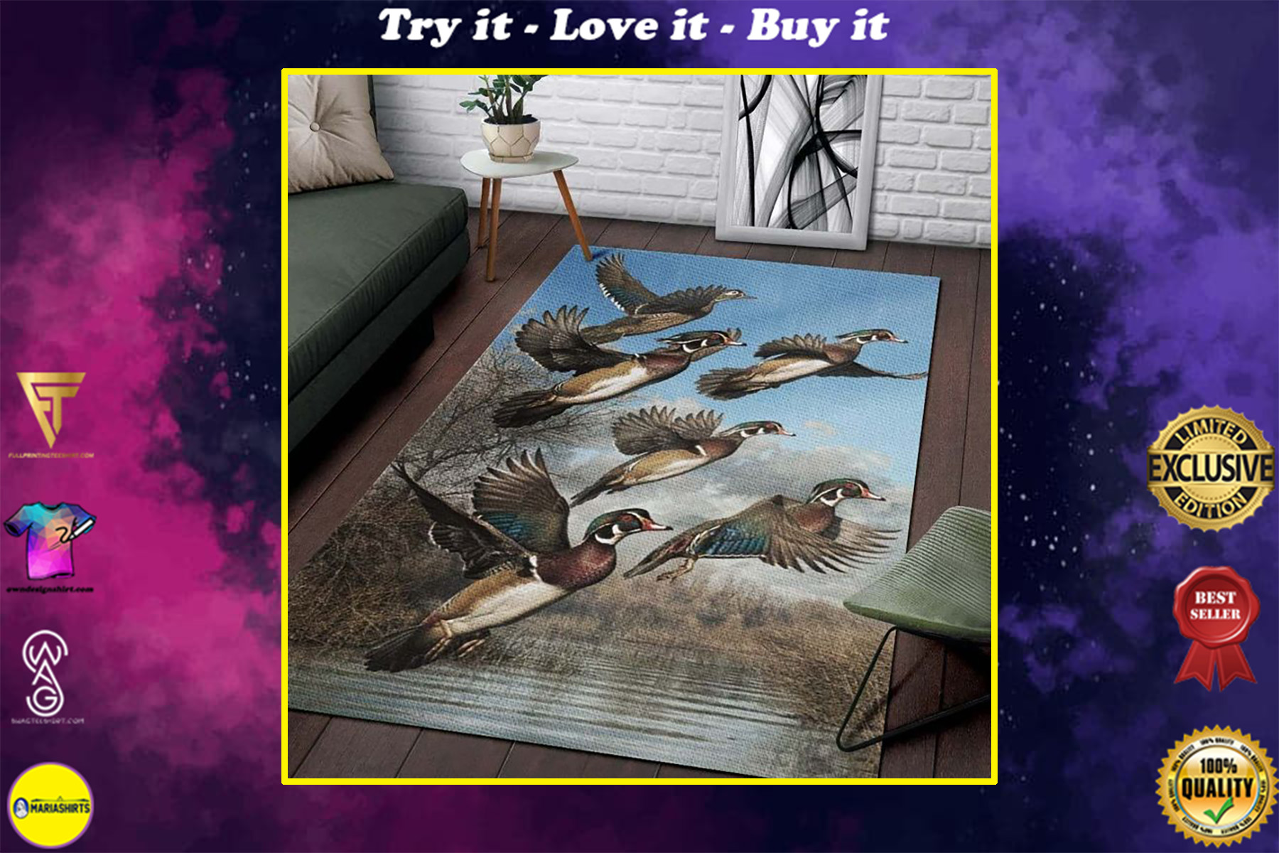 love hunter duck hunting all over printed rug