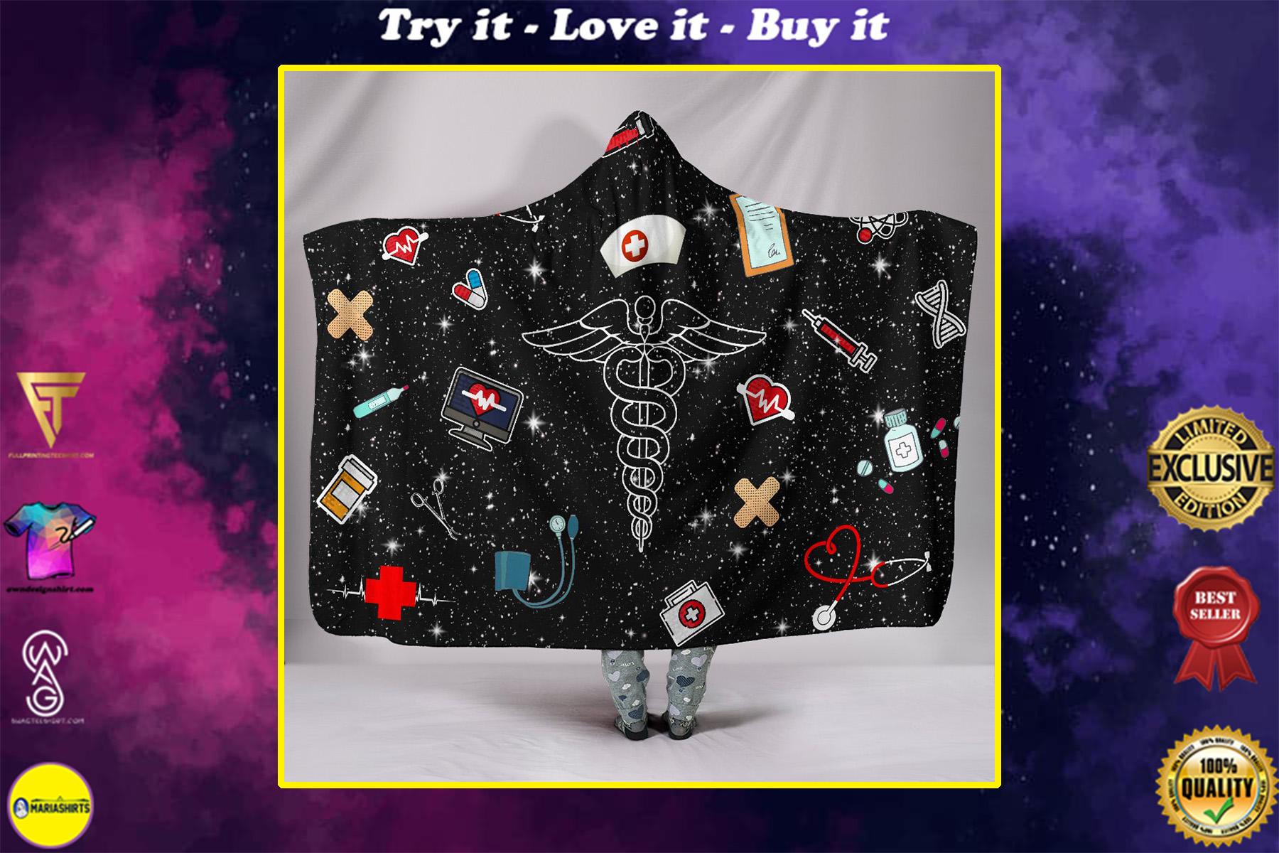 love nurse full over print hooded blanket