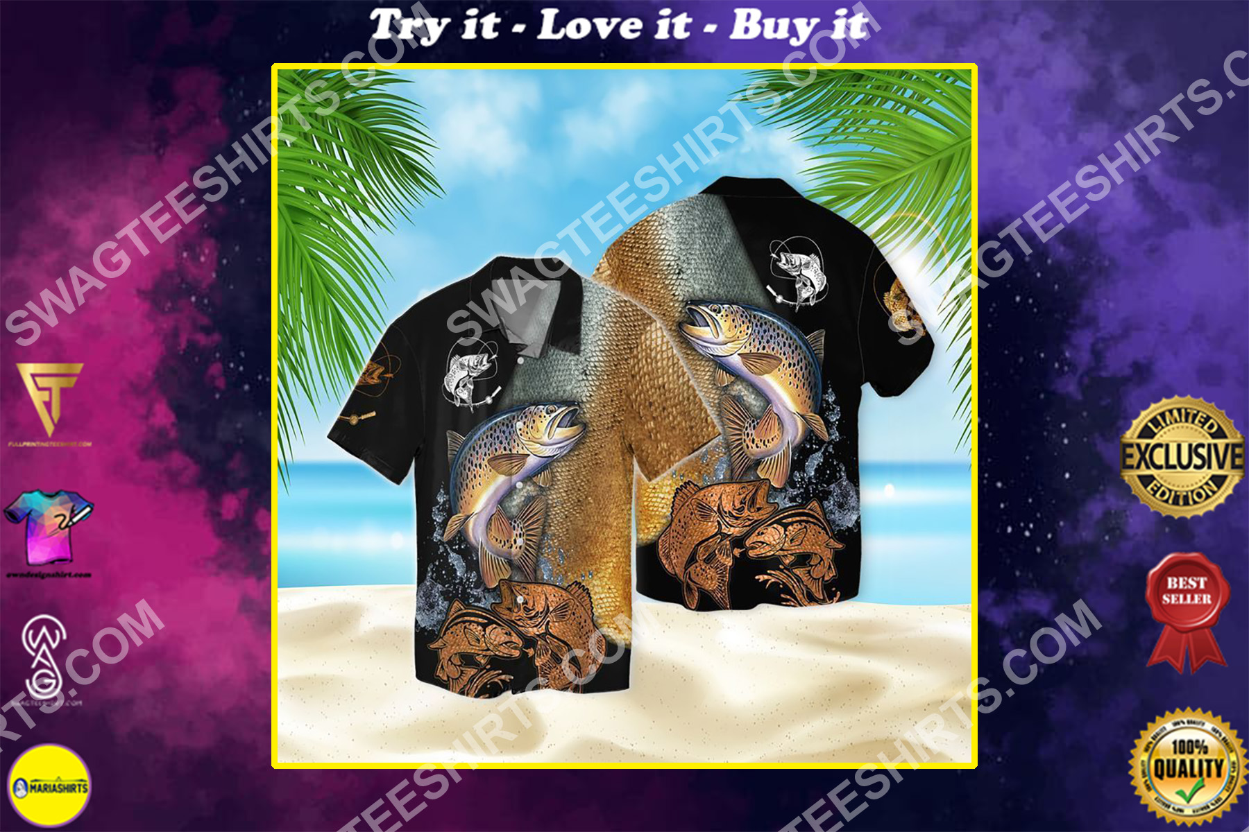 lover fishing for fisher all over printed hawaiian shirt