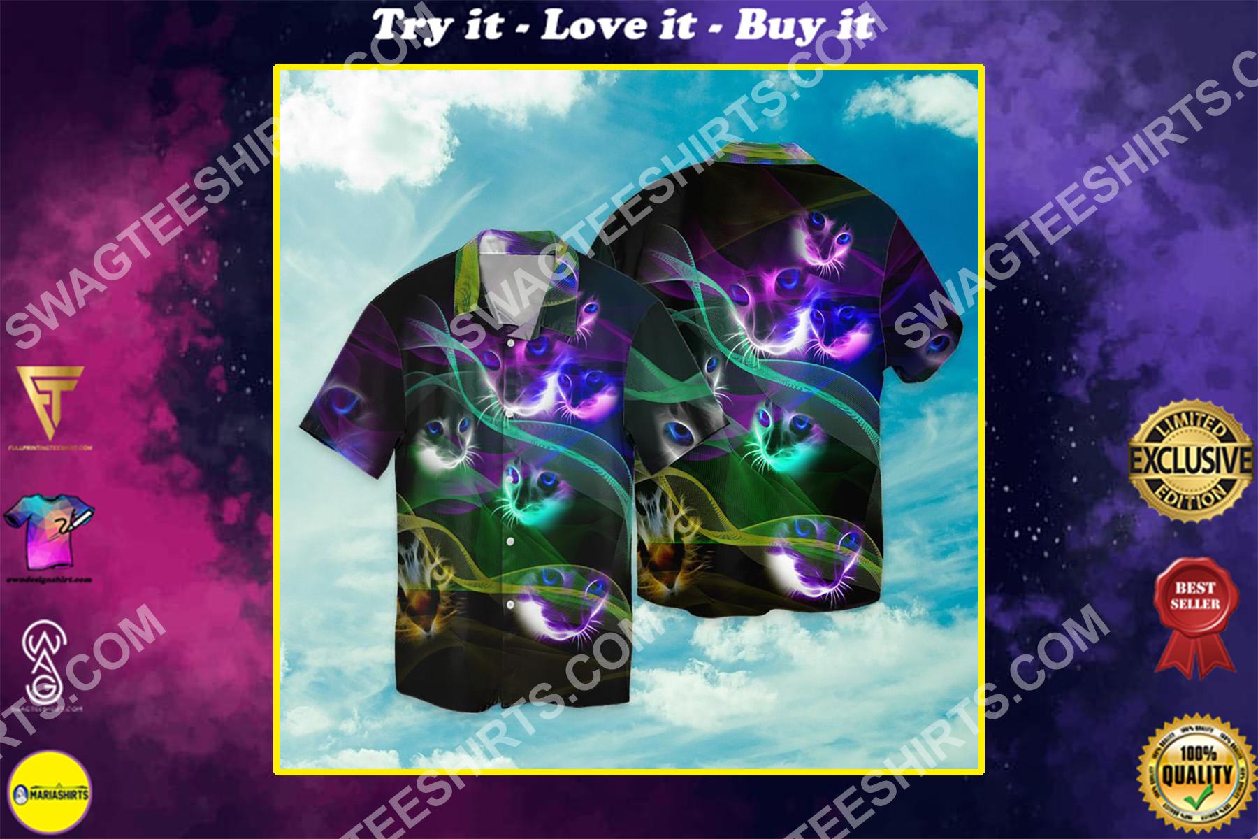 magic cats all over printed hawaiian shirt