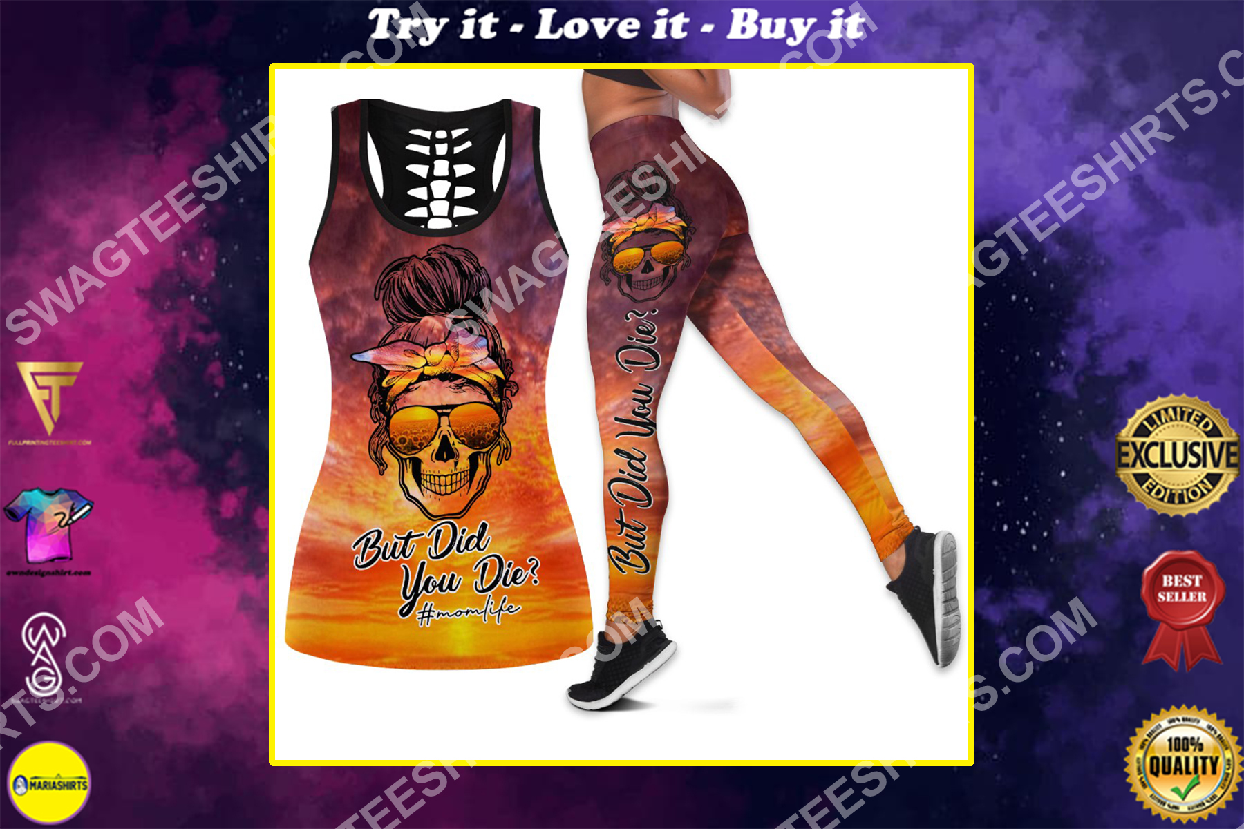 mom life but did you die all over printed set sports outfit