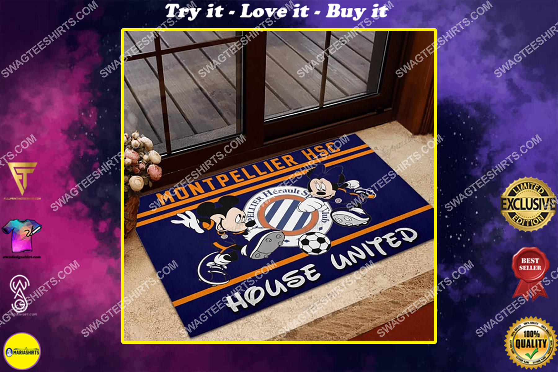montpellier hsc house united mickey mouse and minnie mouse doormat