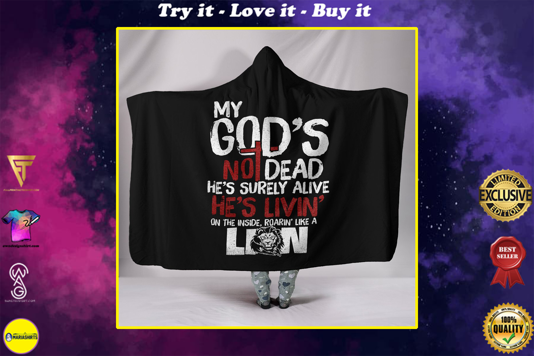 my God's not dead full printing hooded blanket