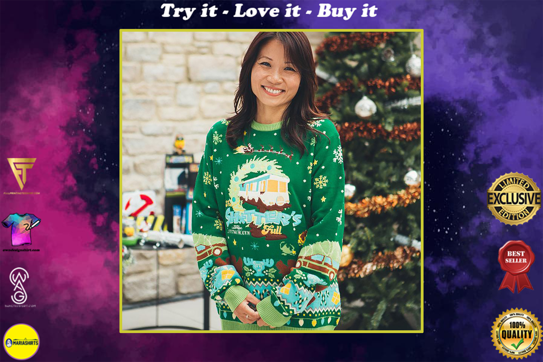 national lampoons christmas vacation all over printed ugly christmas sweater