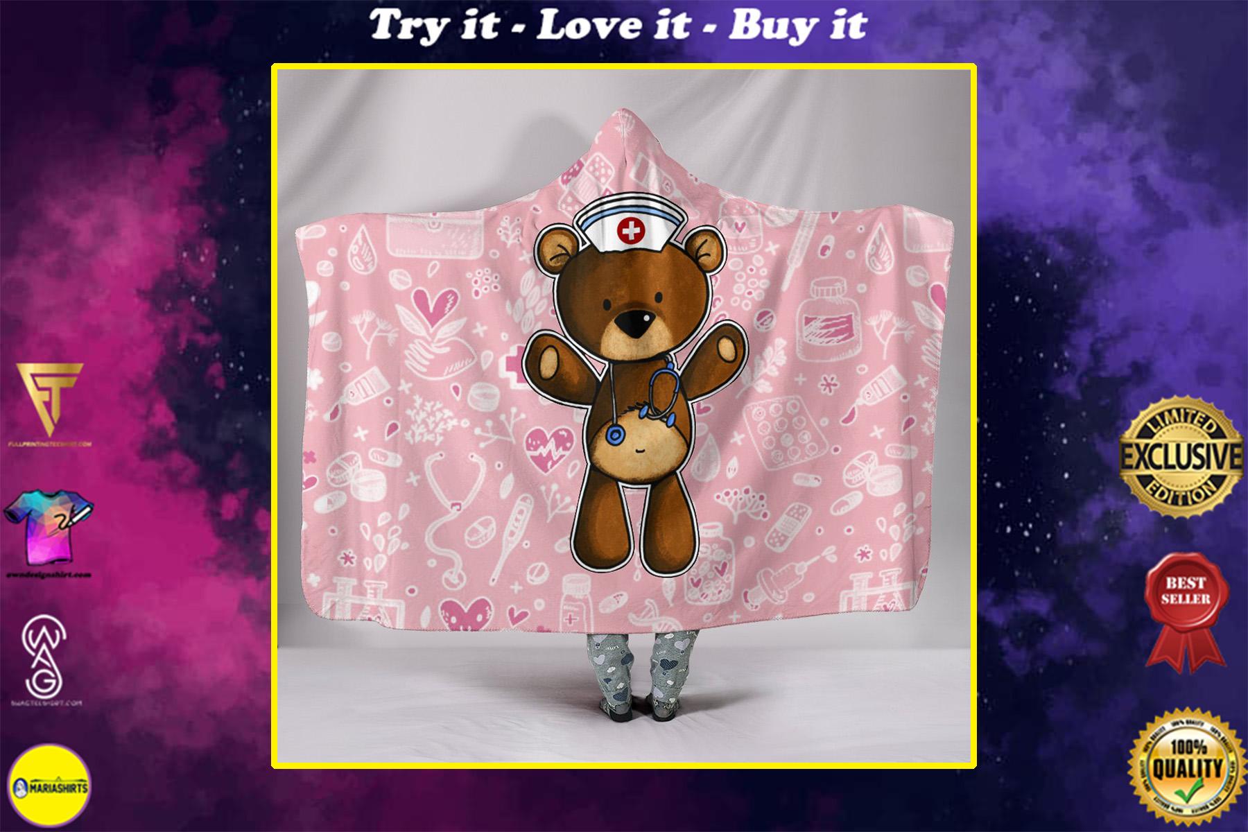 nurse bear full printing hooded blanket