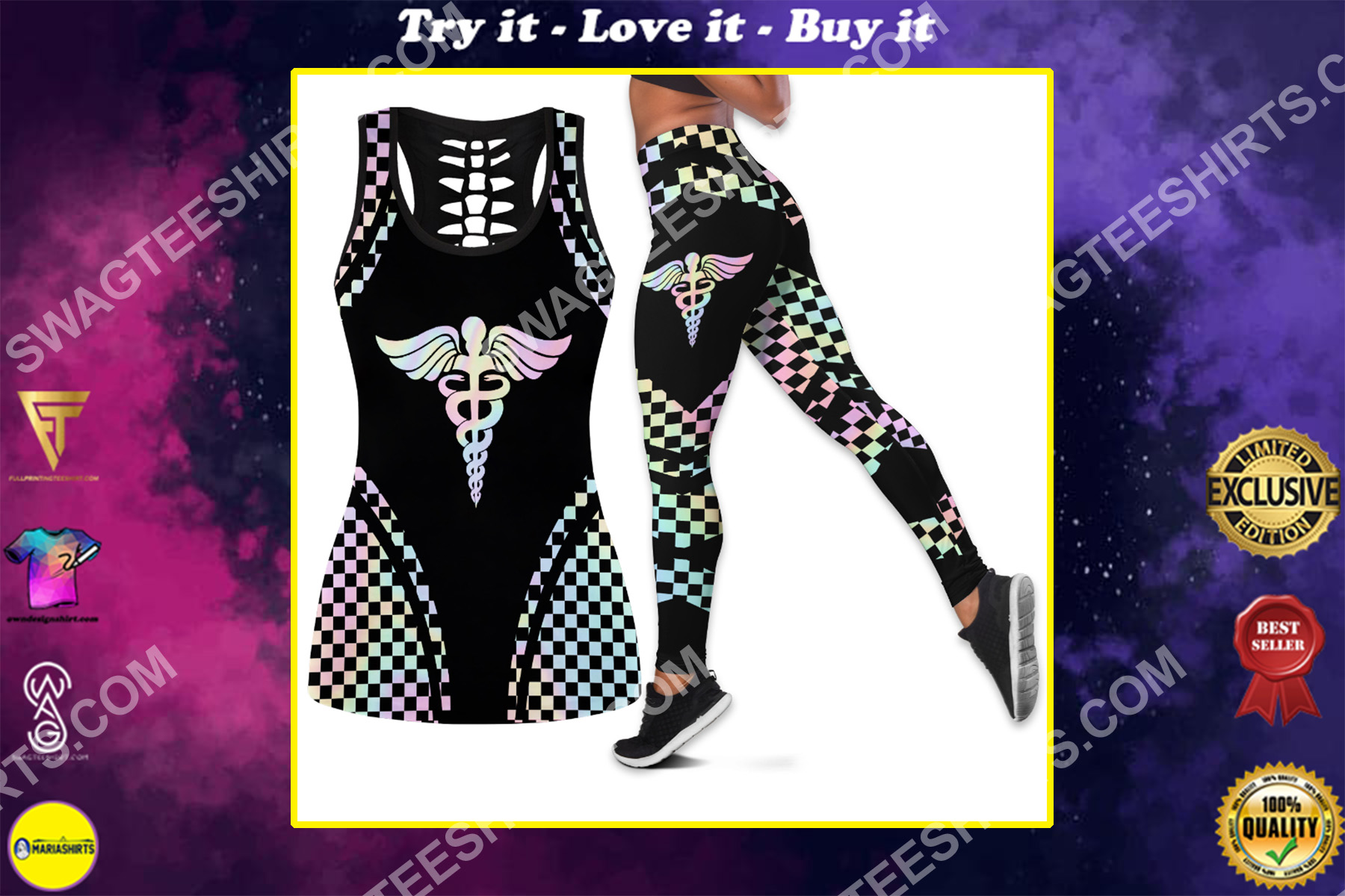 nurse hologram all over printed set sports outfit