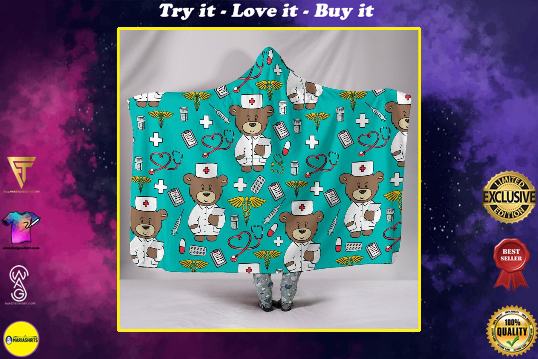 nursing bear all over print hooded blanket