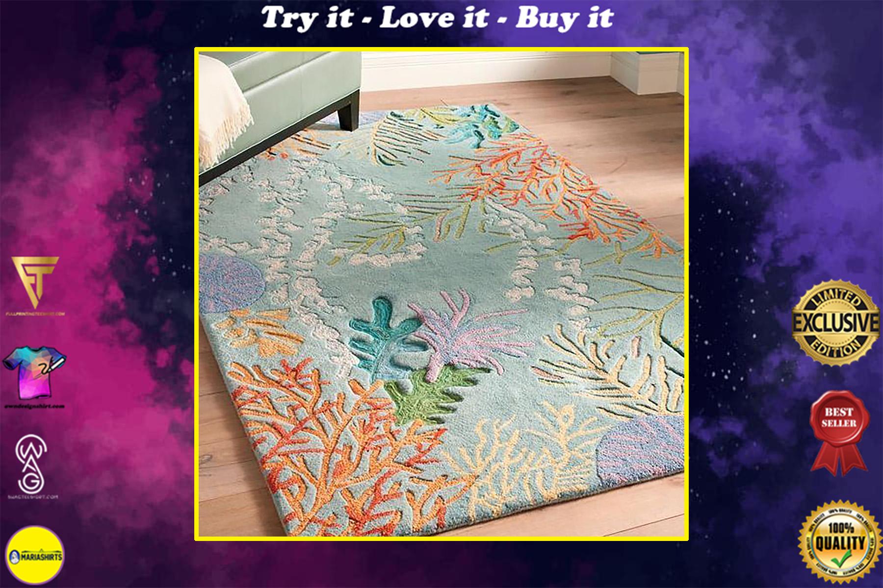 ocean coral reef all over printed rug