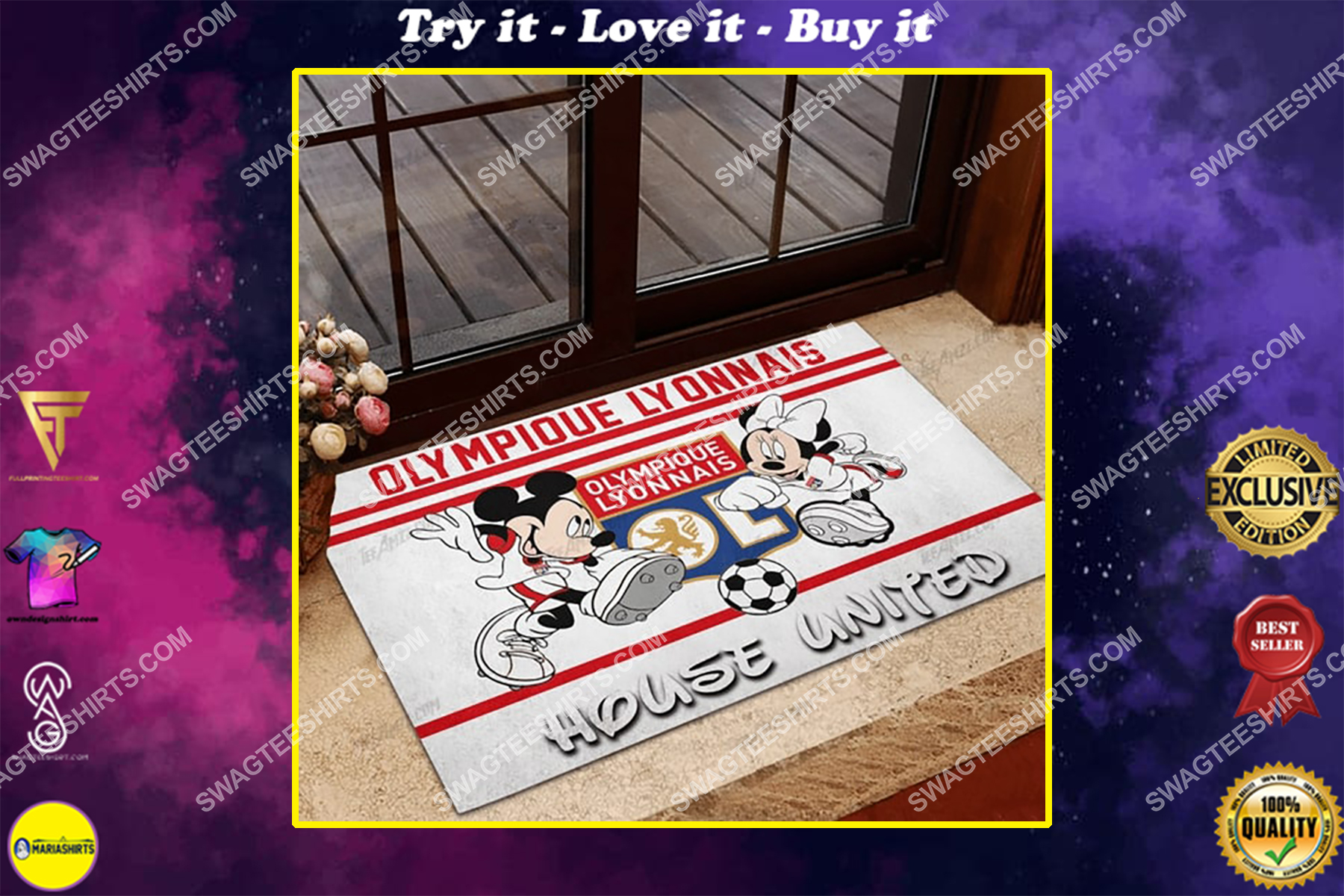 olympique lyonnais house united mickey mouse and minnie mouse doormat