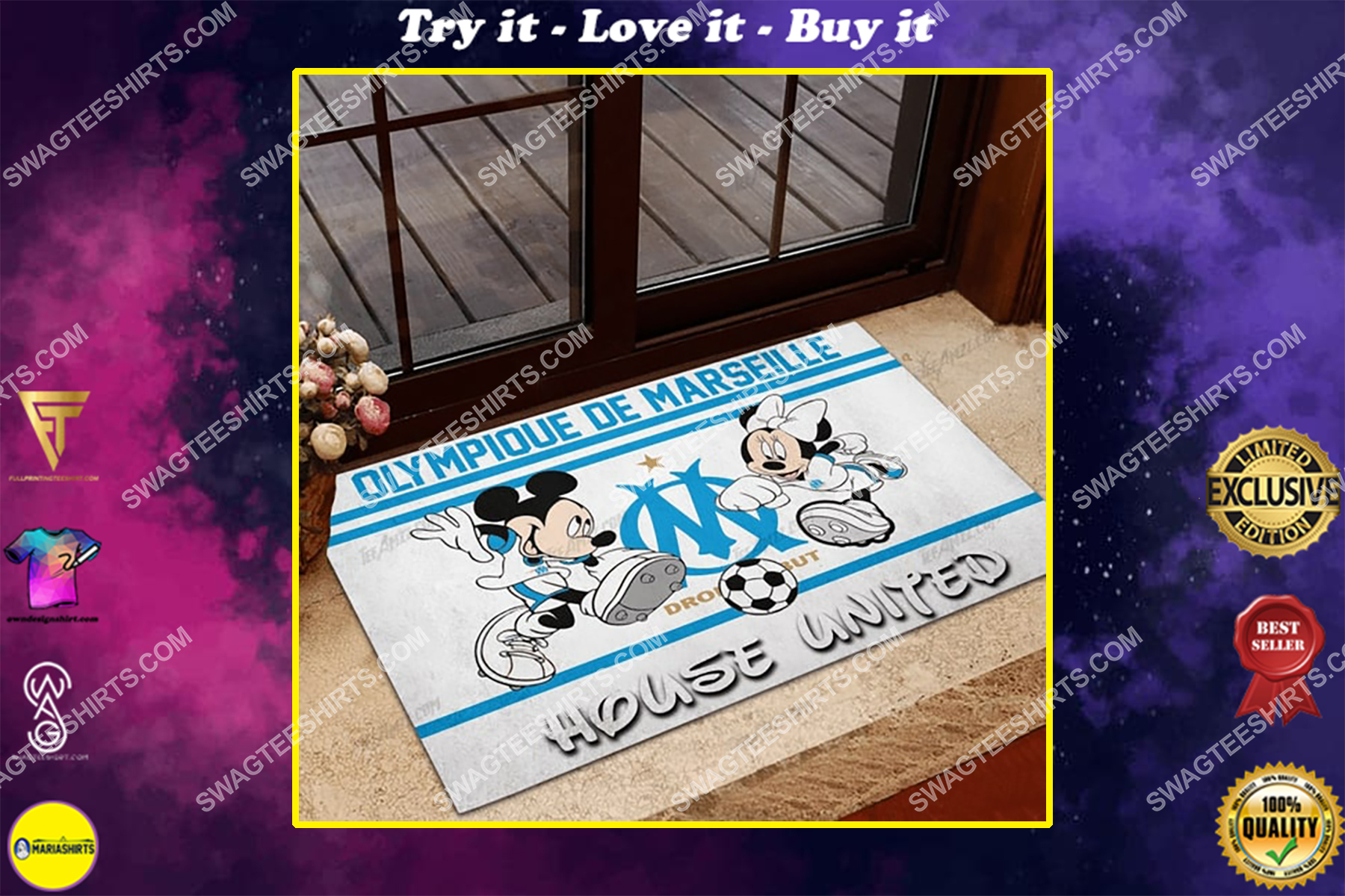 olympique marseille house united mickey mouse and minnie mouse doormat