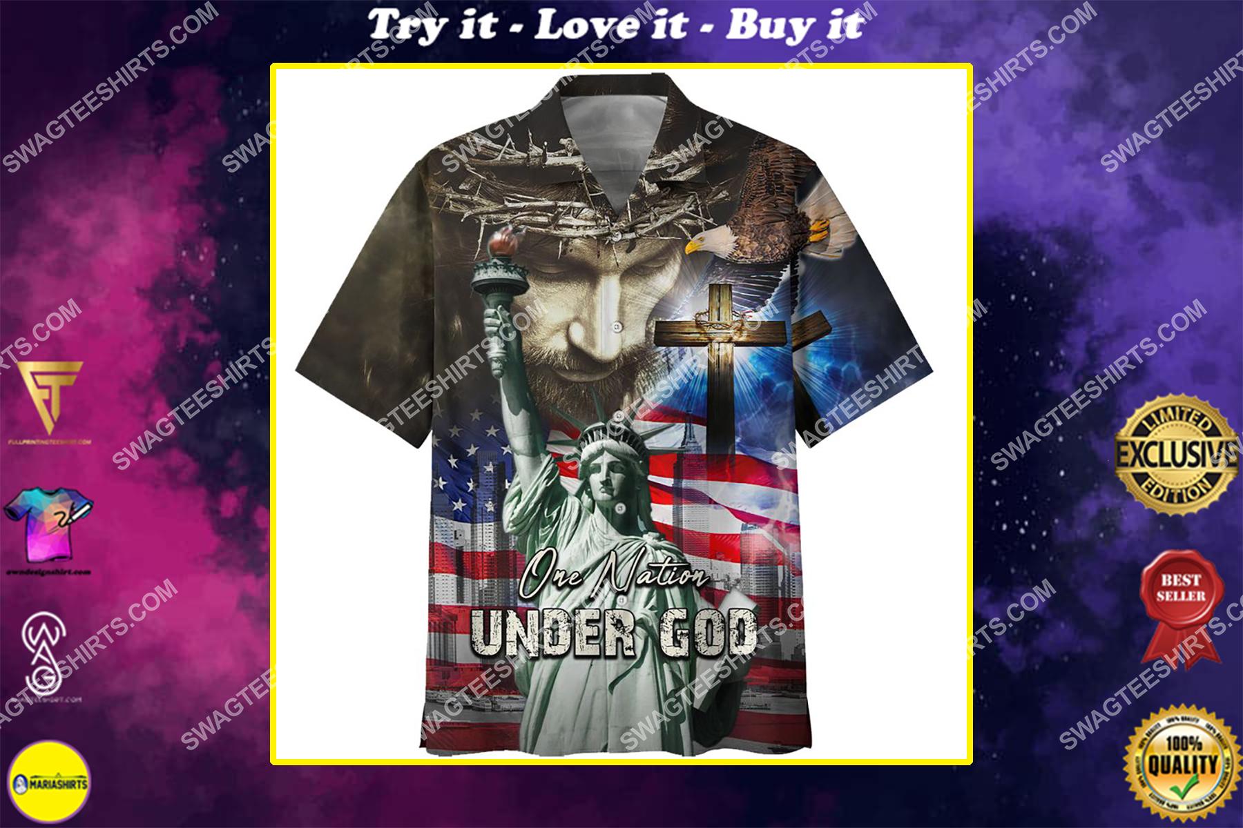 one nation under God american flag all over printed hawaiian shirt