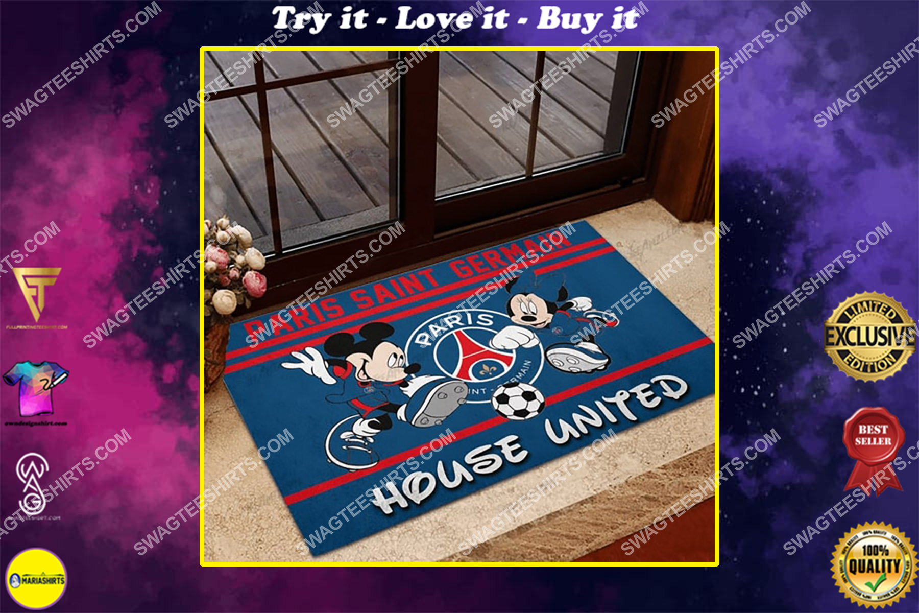 paris saint germain house united mickey mouse and minnie mouse doormat