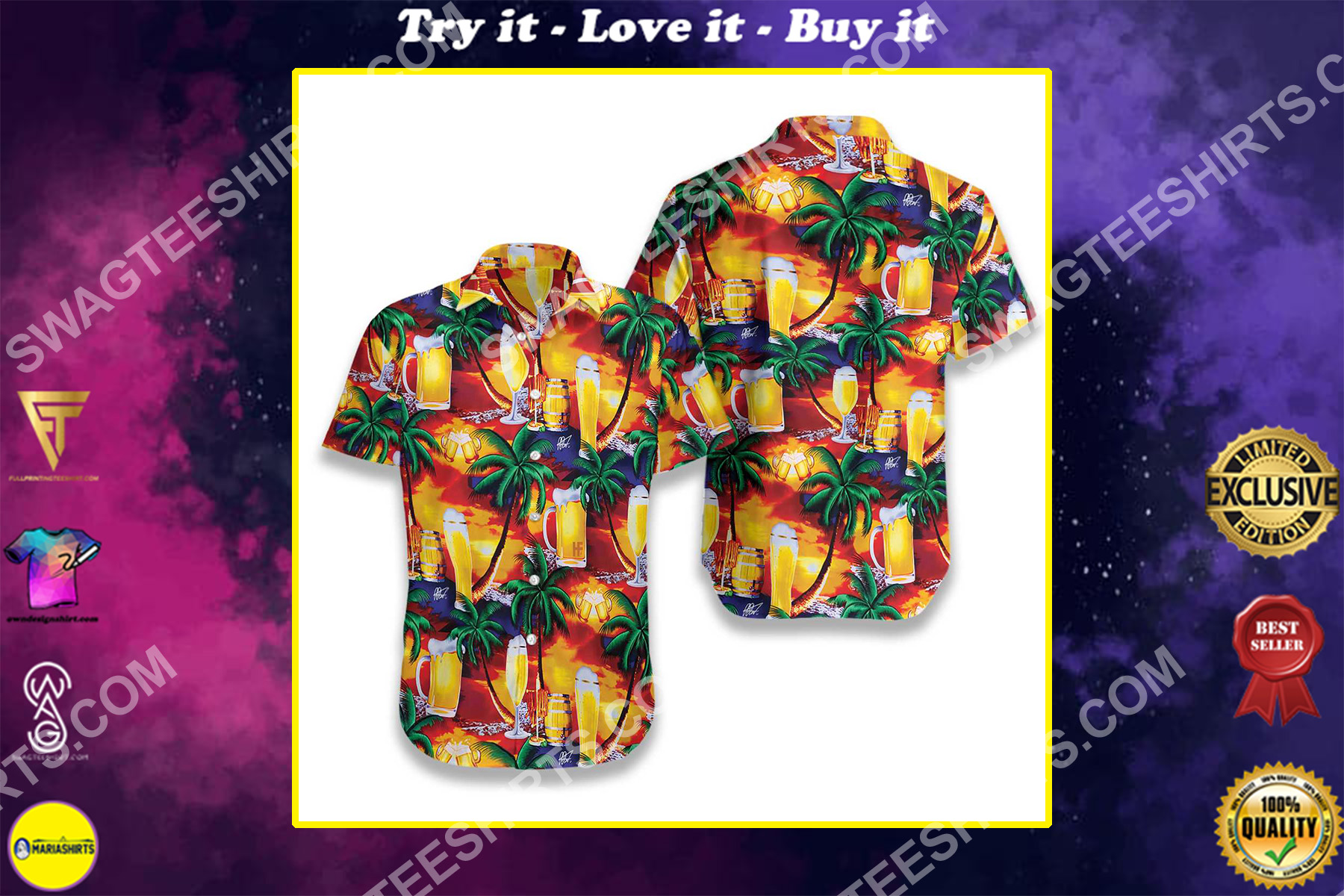party beer in paradise all over printed hawaiian shirt
