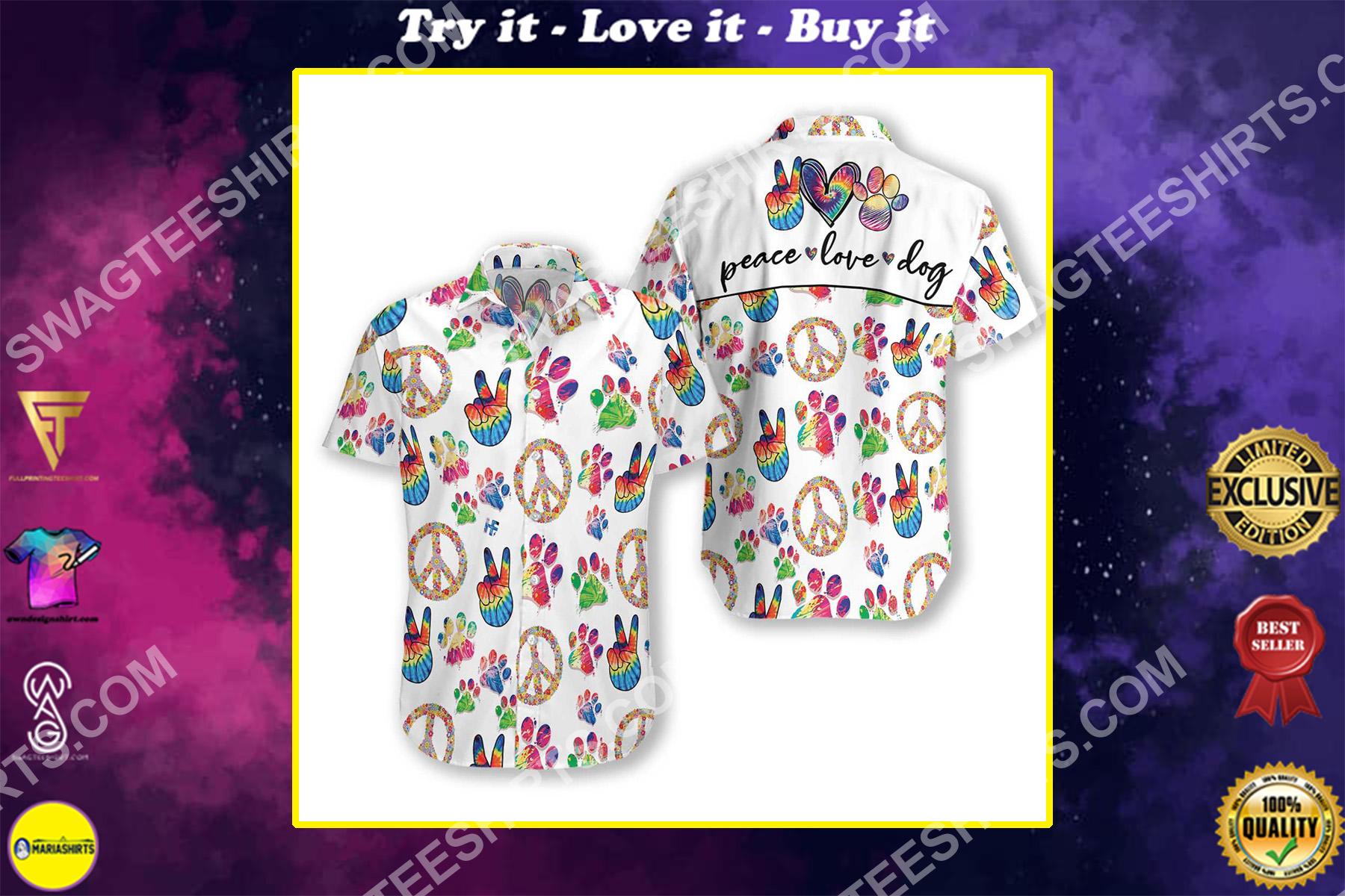 peace love dog all over printed hawaiian shirt