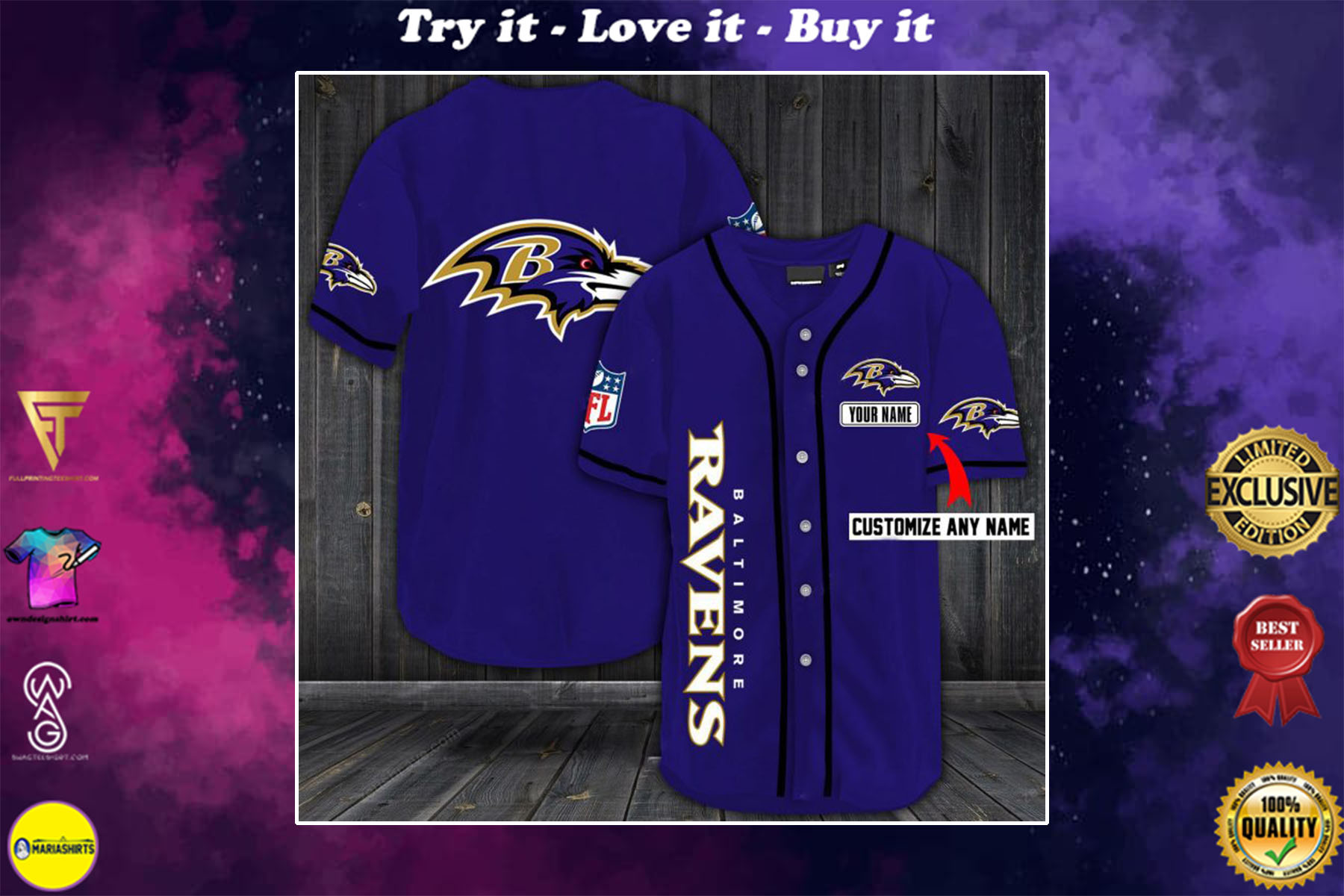 personalized name baltimore ravens baseball shirt