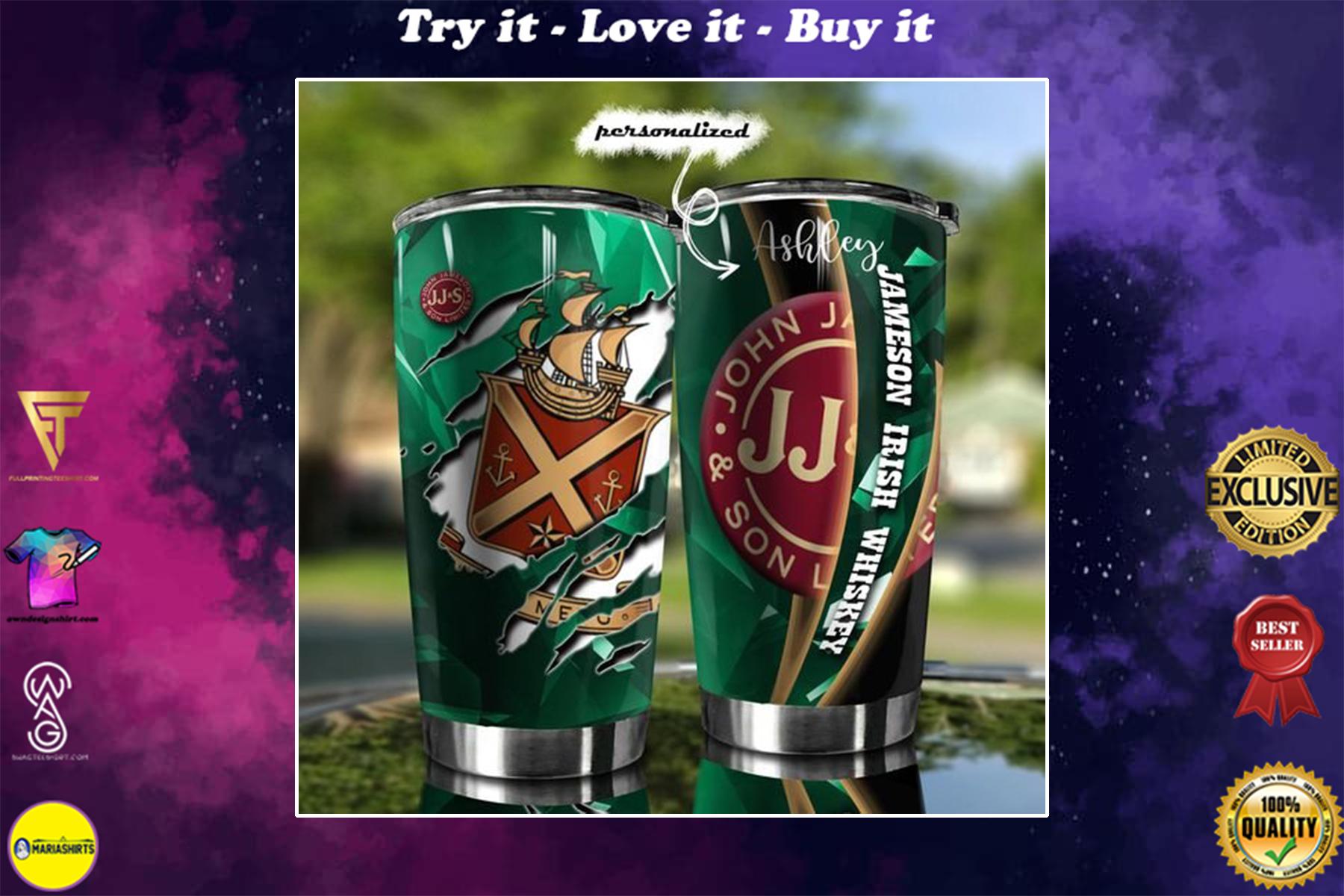 personalized name jameson irish whiskey tumbler