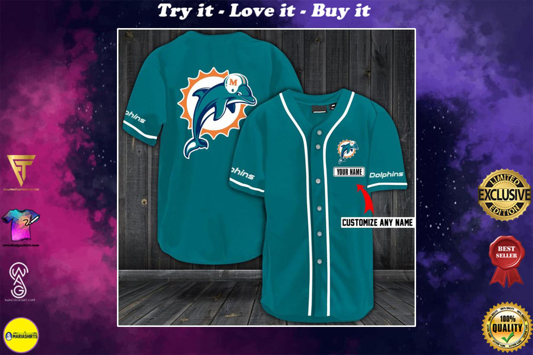 personalized name miami dolphins baseball shirt